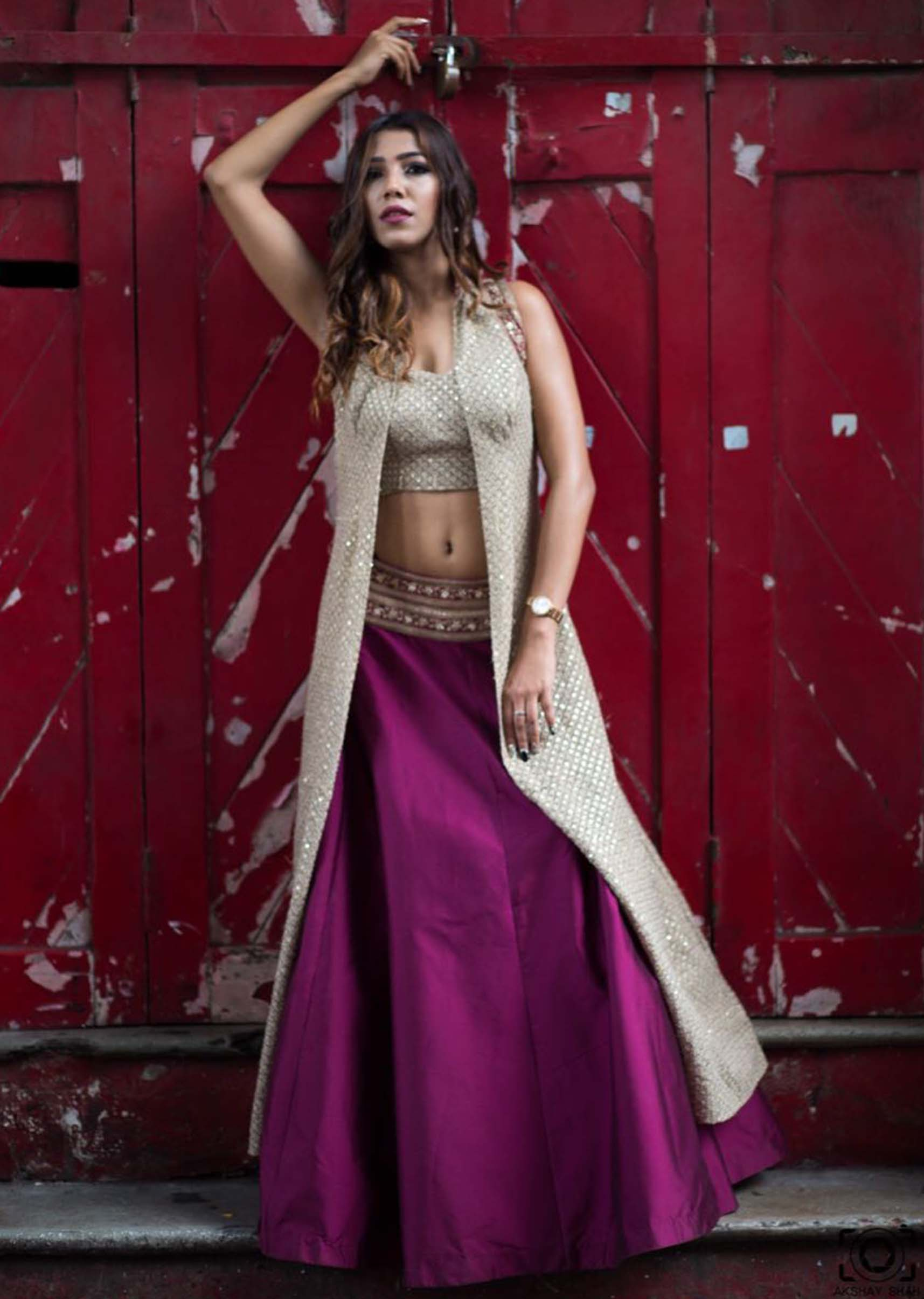 d5df8128ec9574 Purple lehenga in taffeta silk with thread embroidered jacket and crop top  only on KalkiMore Detail