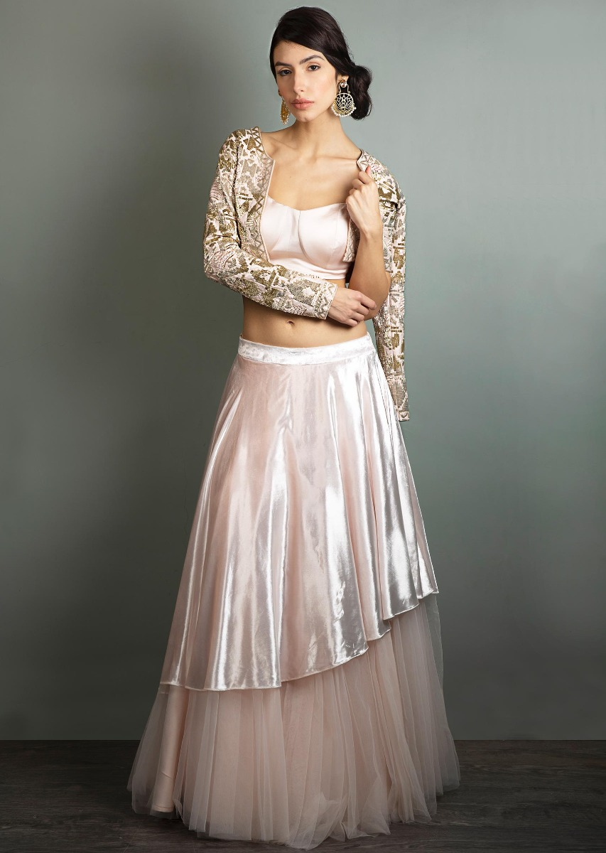 17942cd0e5c726 Powder pink net skirt with velvet top layer paired with a matching crop top  and cut dana embroidered jacket only ...