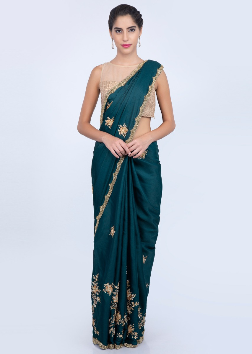 c909787d7 Admiral blue dupion silk saree with embroidered lower bottom and pallo only  on kalki