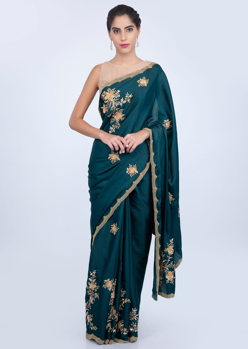 c13c599d2 Admiral blue dupion silk saree with embroidered lower bottom and pallo only  on kalkiMore Detail