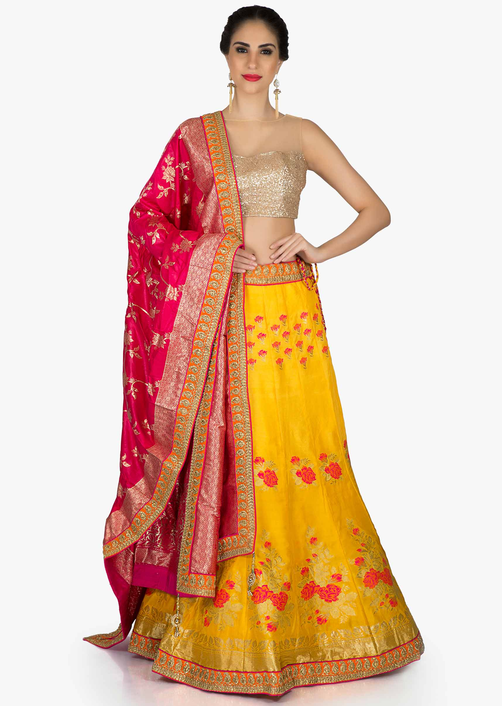d475f899a0 Amber yellow lehenga in floral motif with contrast rani pink dupatta in  brocade only on KalkiMore Detail