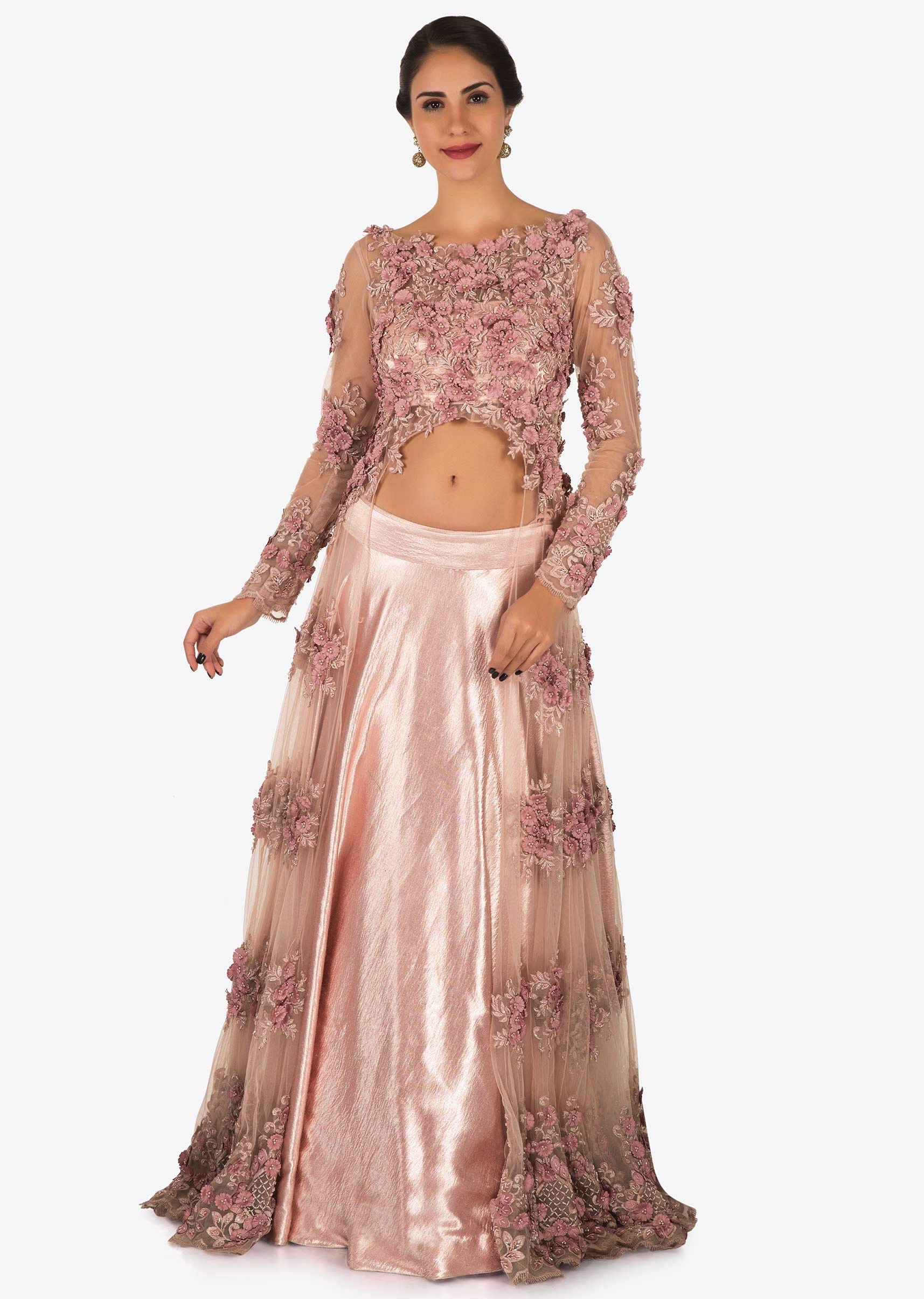 26659f2be4a4e9 Baby pink satin skirt with moti and resham embroidered net jacket only on KalkiMore  Detail