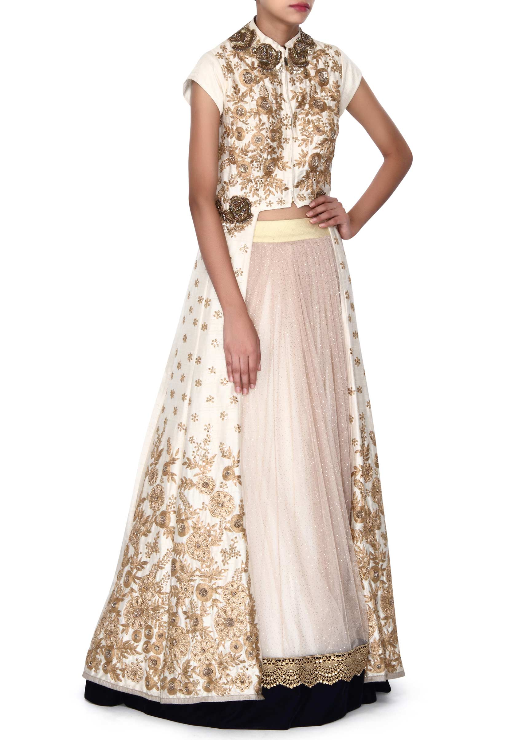 2b6d537fa03fd1 Beige lehenga mathced with crem long jacket blouse only on KalkiMore Detail