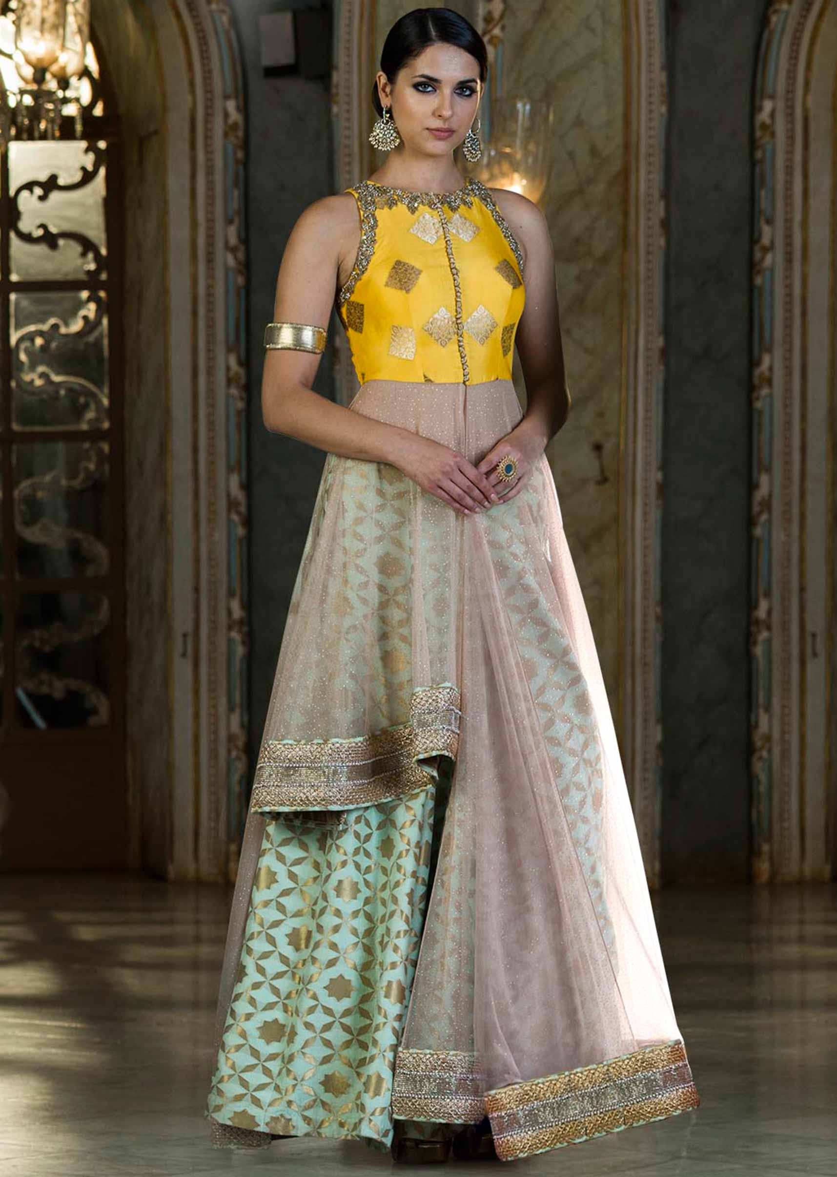 1bb21b3f186cc9 Pista green lehenga with cream long jacket blouse only on Kalki