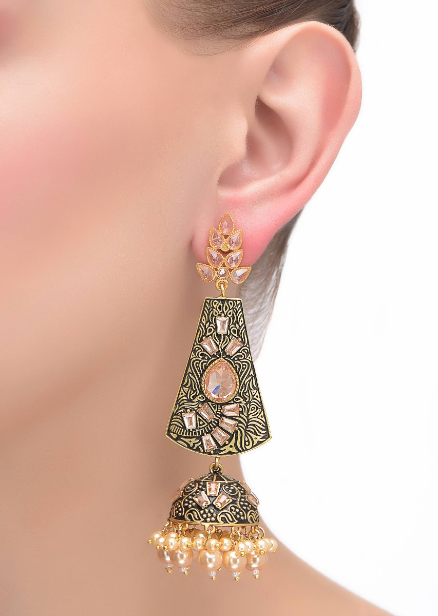 Buy Black And Gold Jhumkas With Abstract Intricate Carving