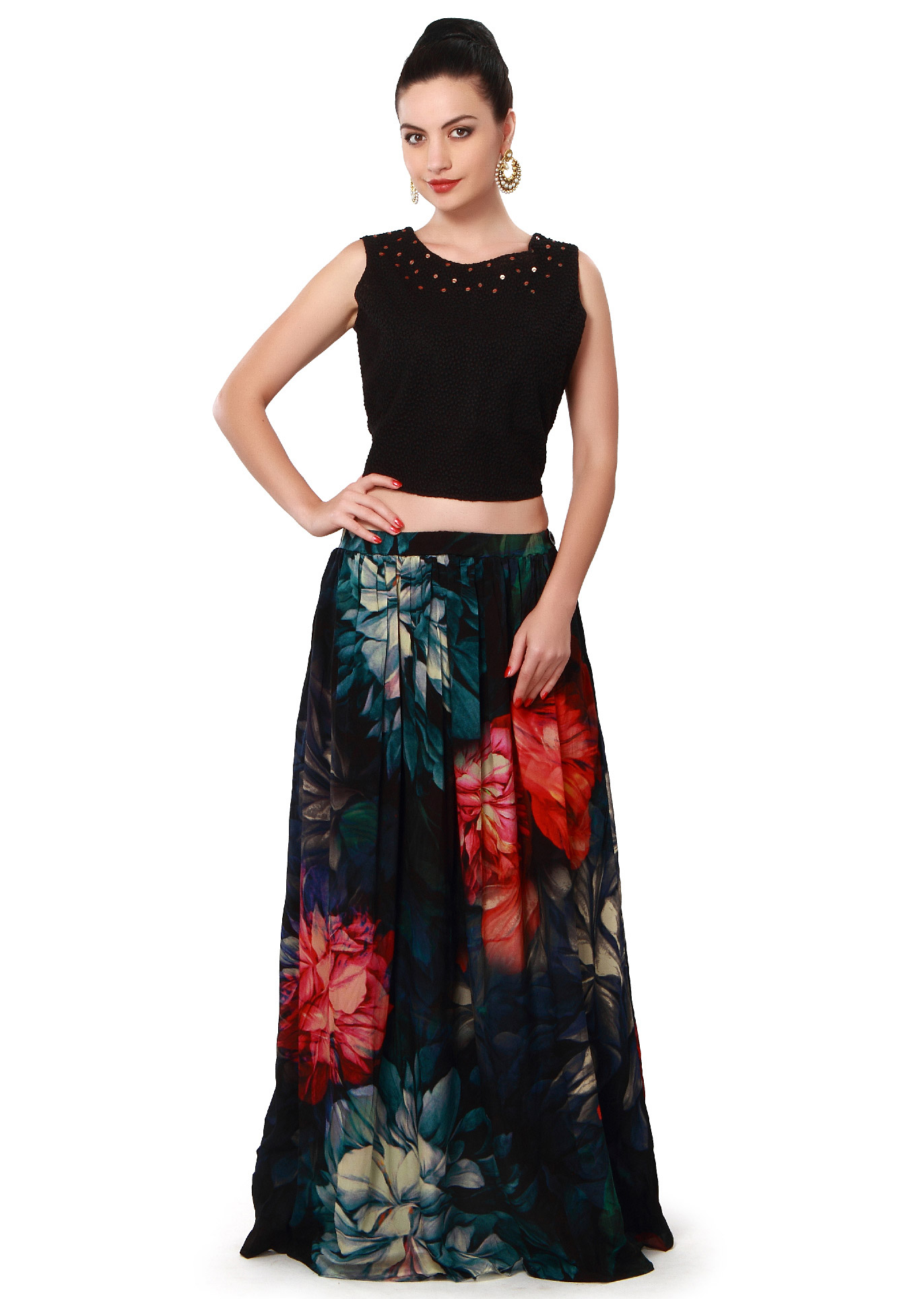 89afc9691e7df7 Black floral skirt matched with embroidered crop top only on Kalki