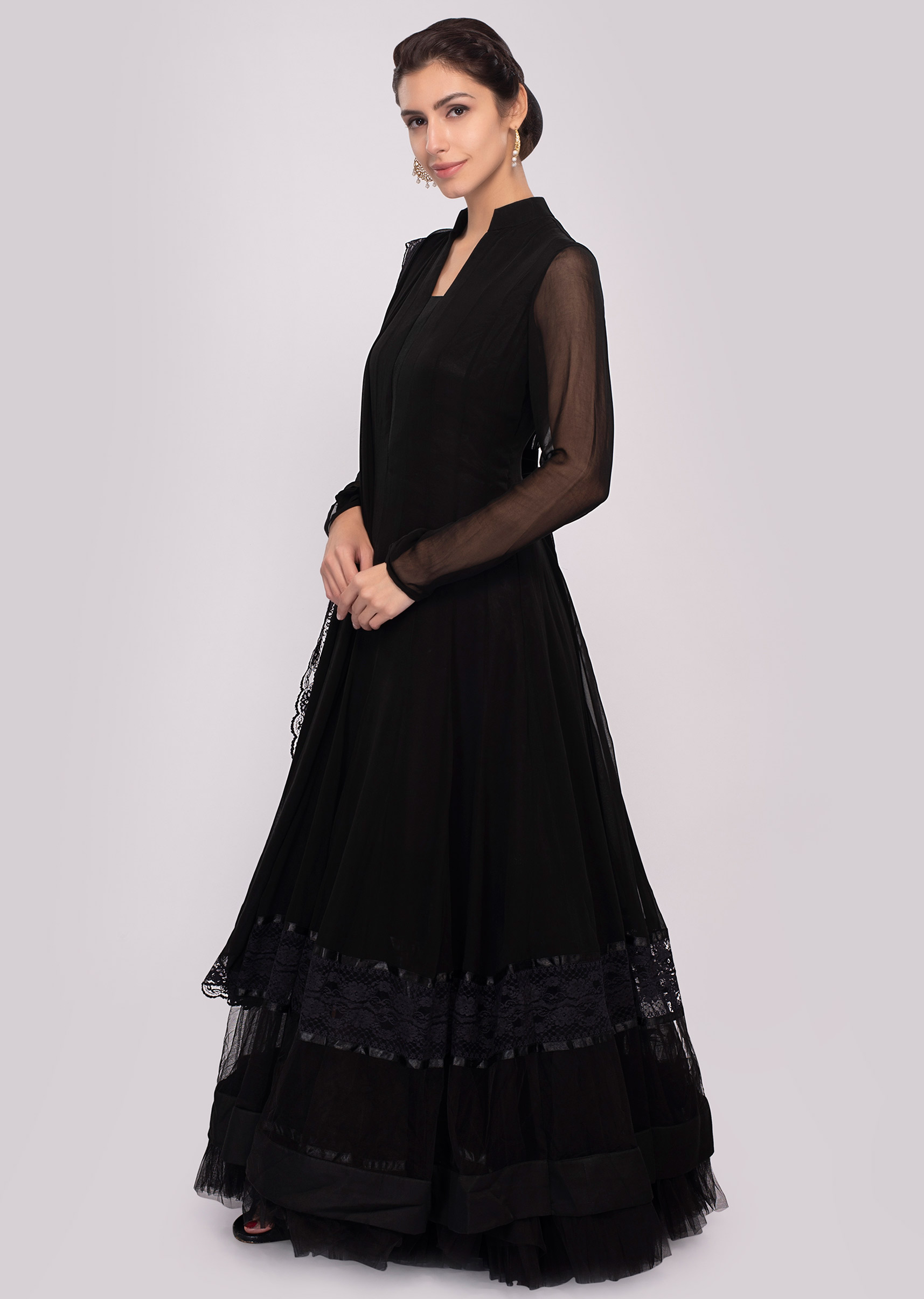 f1d2f75d5a Black georgette anarkali dress paired with raw silk pant and shiffon  dupatta only on KalkiMore Detail