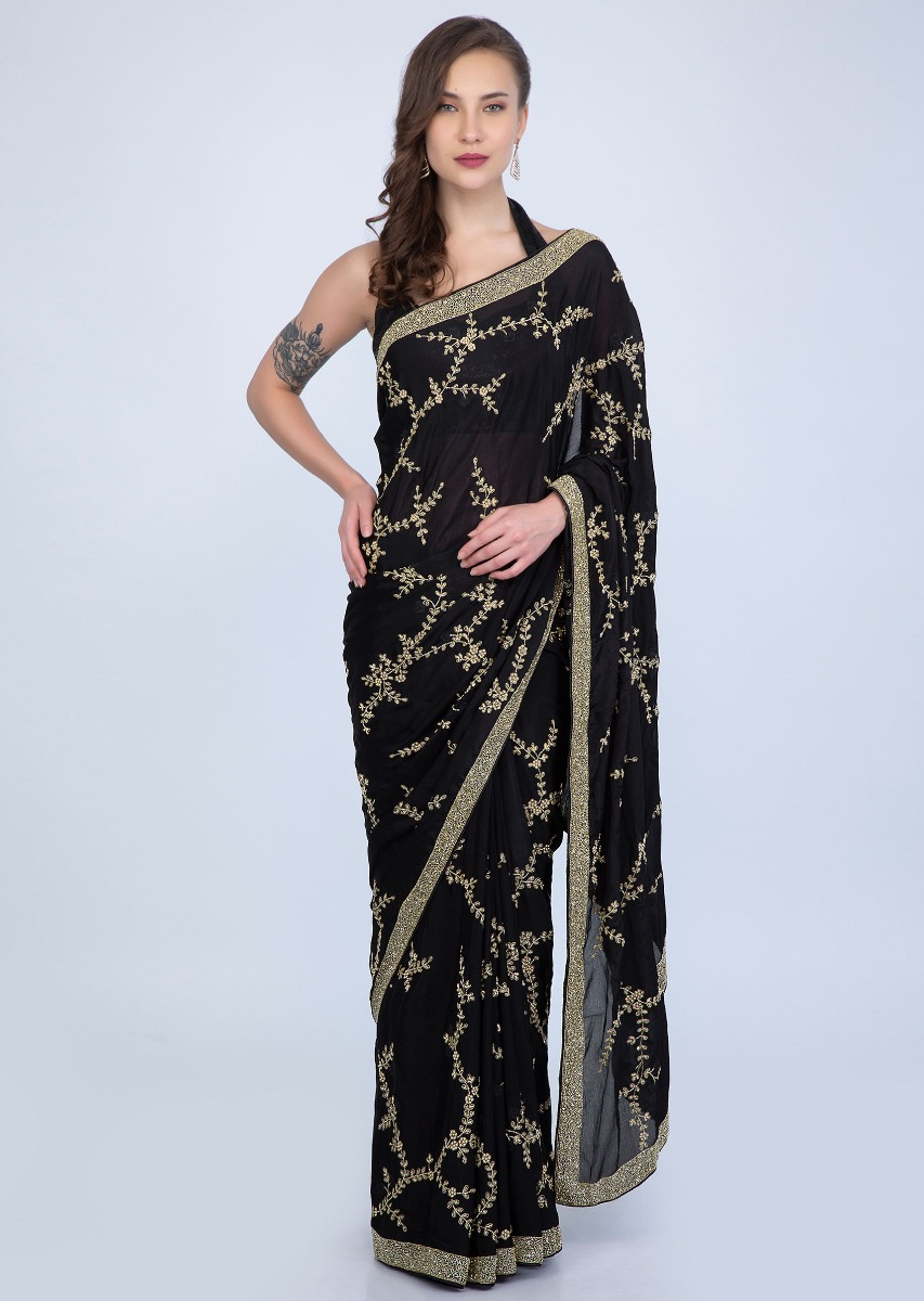 f524c5759b Black heavy satin chiffon saree with floral jaal embroidery only on  KalkiMore Detail