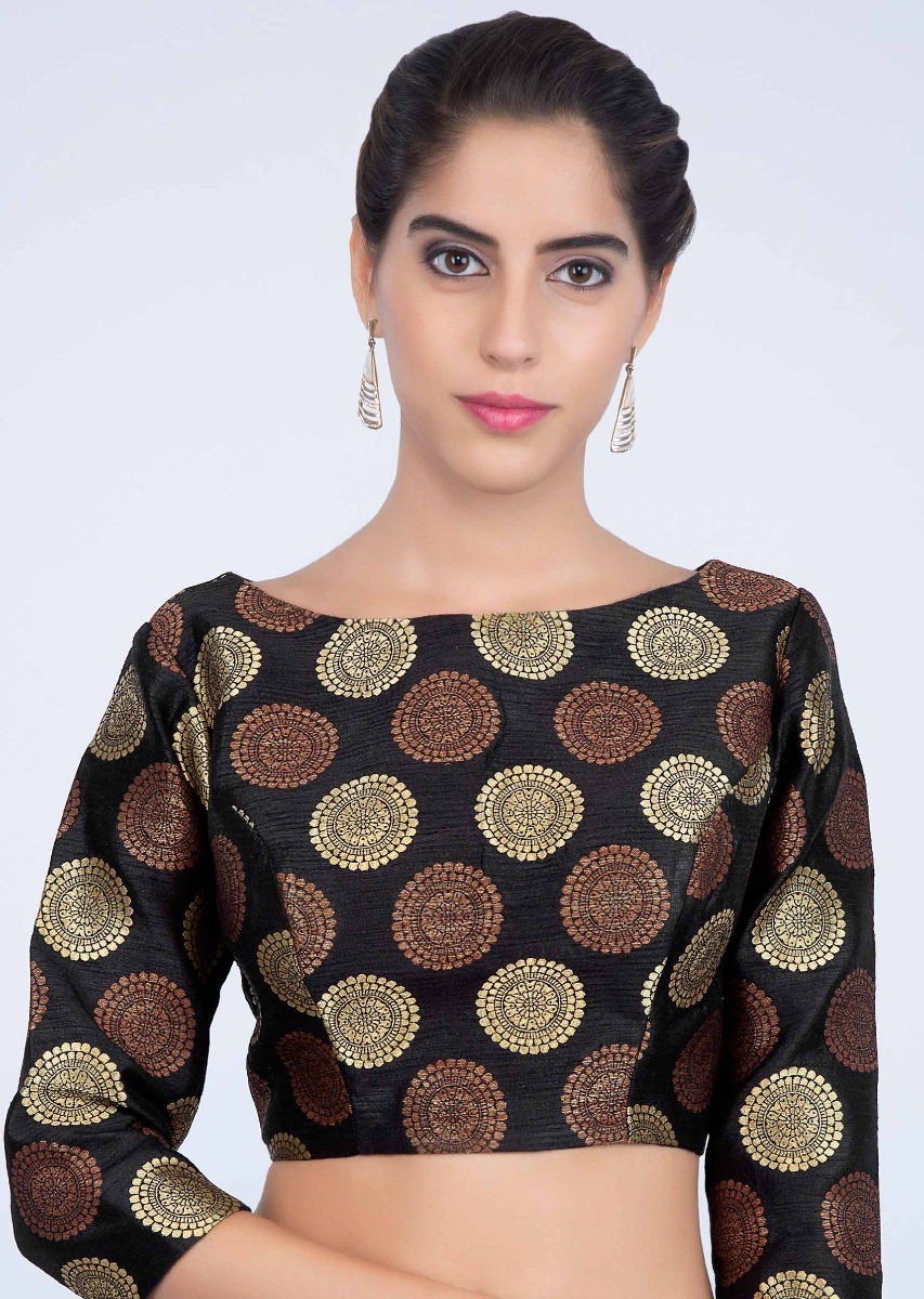 f66e55a073 Black high neck raw silk blouse with golden and copper butti only on kalki