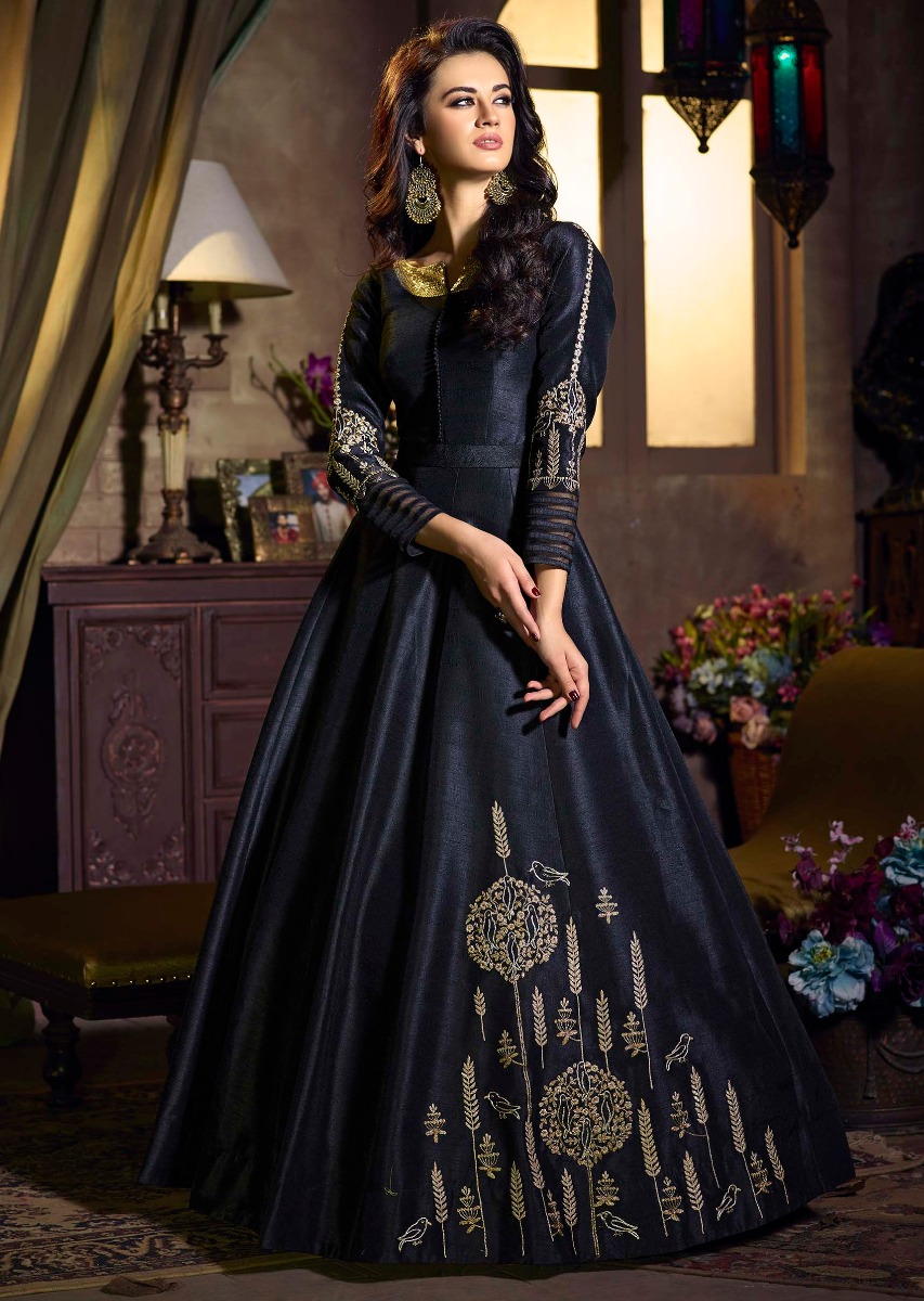 1bee2af25 Black raw silk anarkali suit with banarasi brocade dupatta