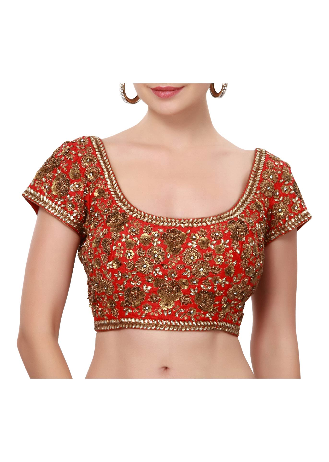 18940f0c003bc0 Blood red saree blouse adorn in kundan and sequin embroidery only on Kalki