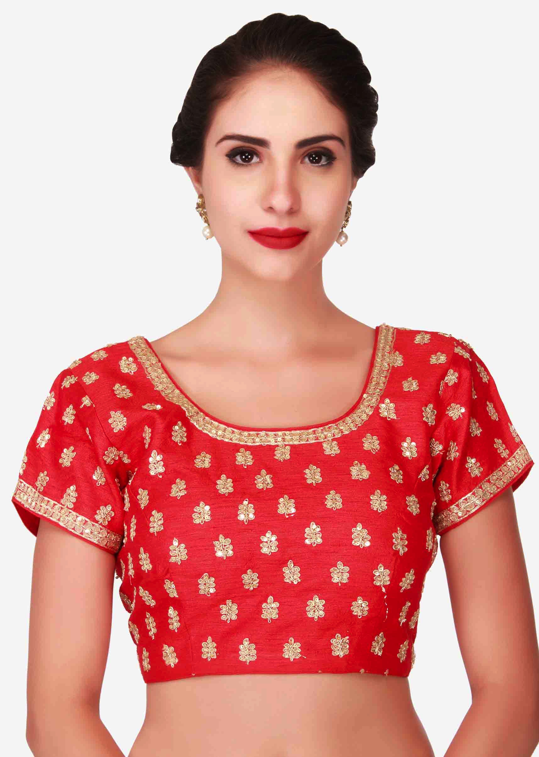 588f69f65de6b3 Blood red blouse adorn in sequin and zari embroidered butti only on Kalki