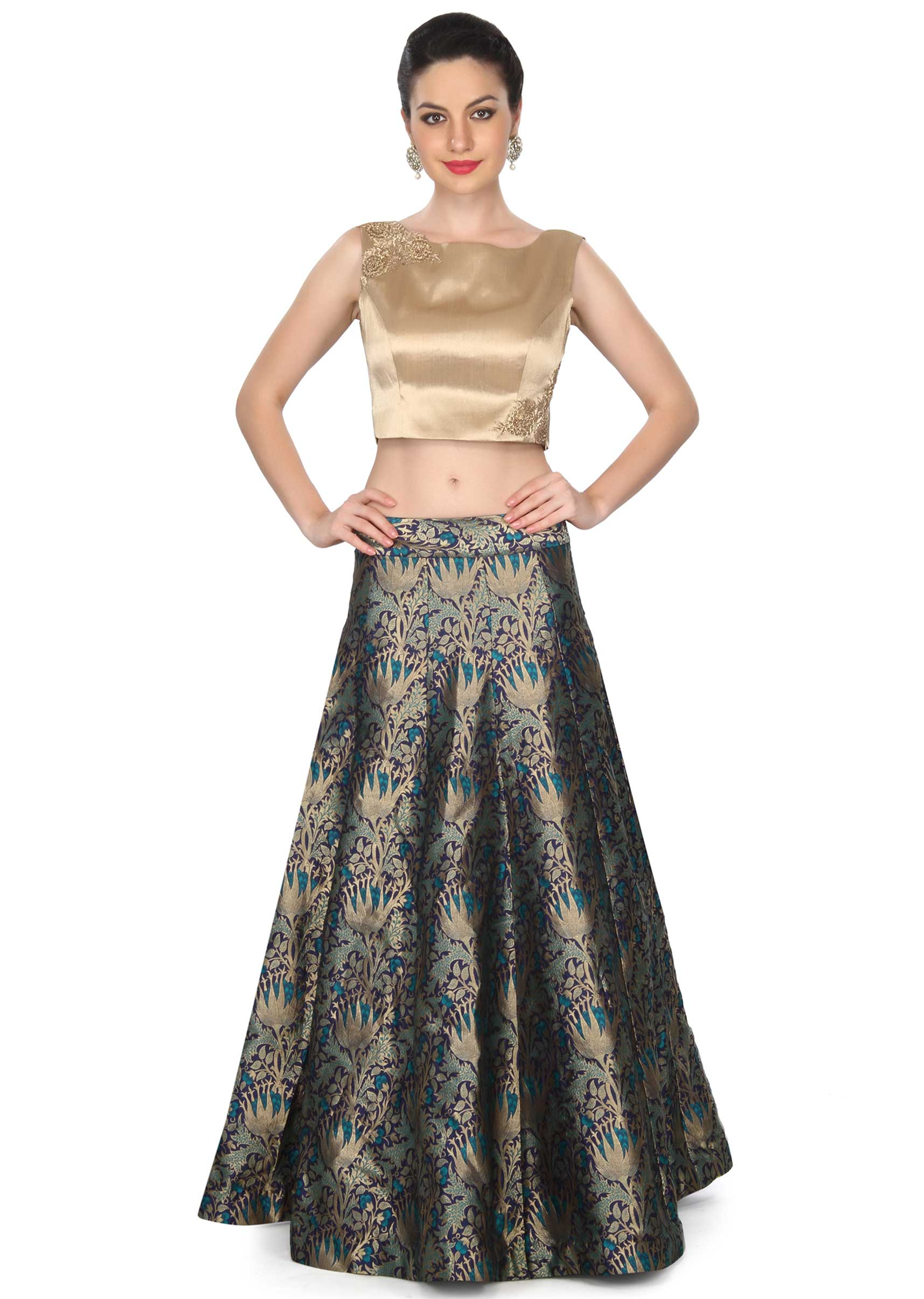 390ff8b115afa Blue skirt matched with gold crop top only on KalkiMore Detail. Sold Out