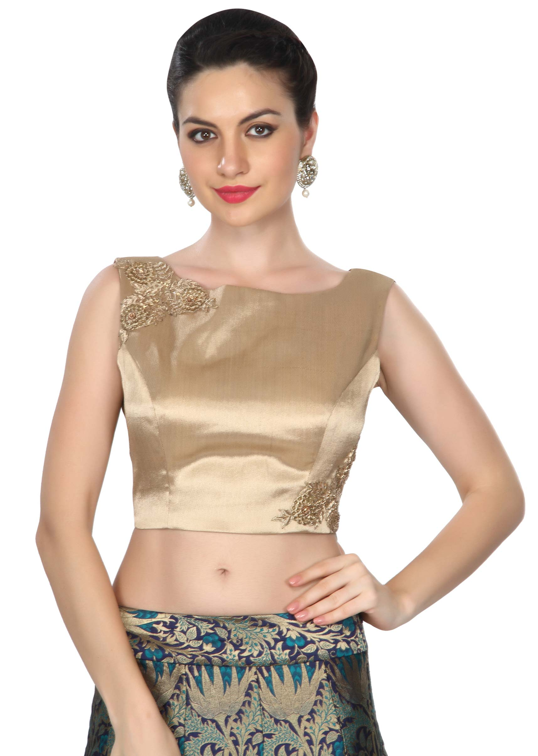 f44338b3d885ae Blue skirt matched with gold crop top only on Kalki