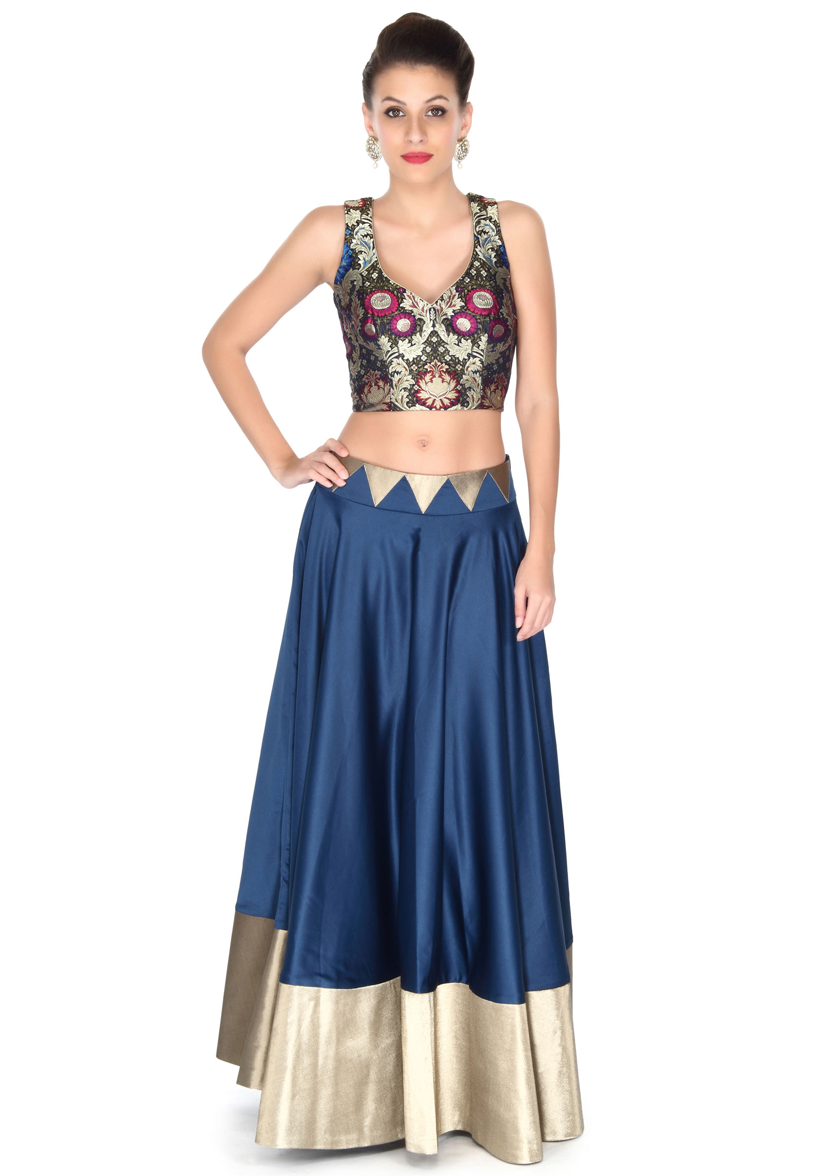 8081c8dfb79d97 Blue skirt matched with velvet crop top only on KalkiMore Detail