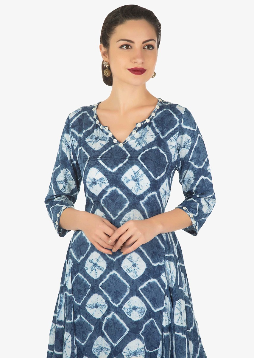 308b208fd1 Blue and off white tunic in batik print matched with off white gotta patch  work pants ...