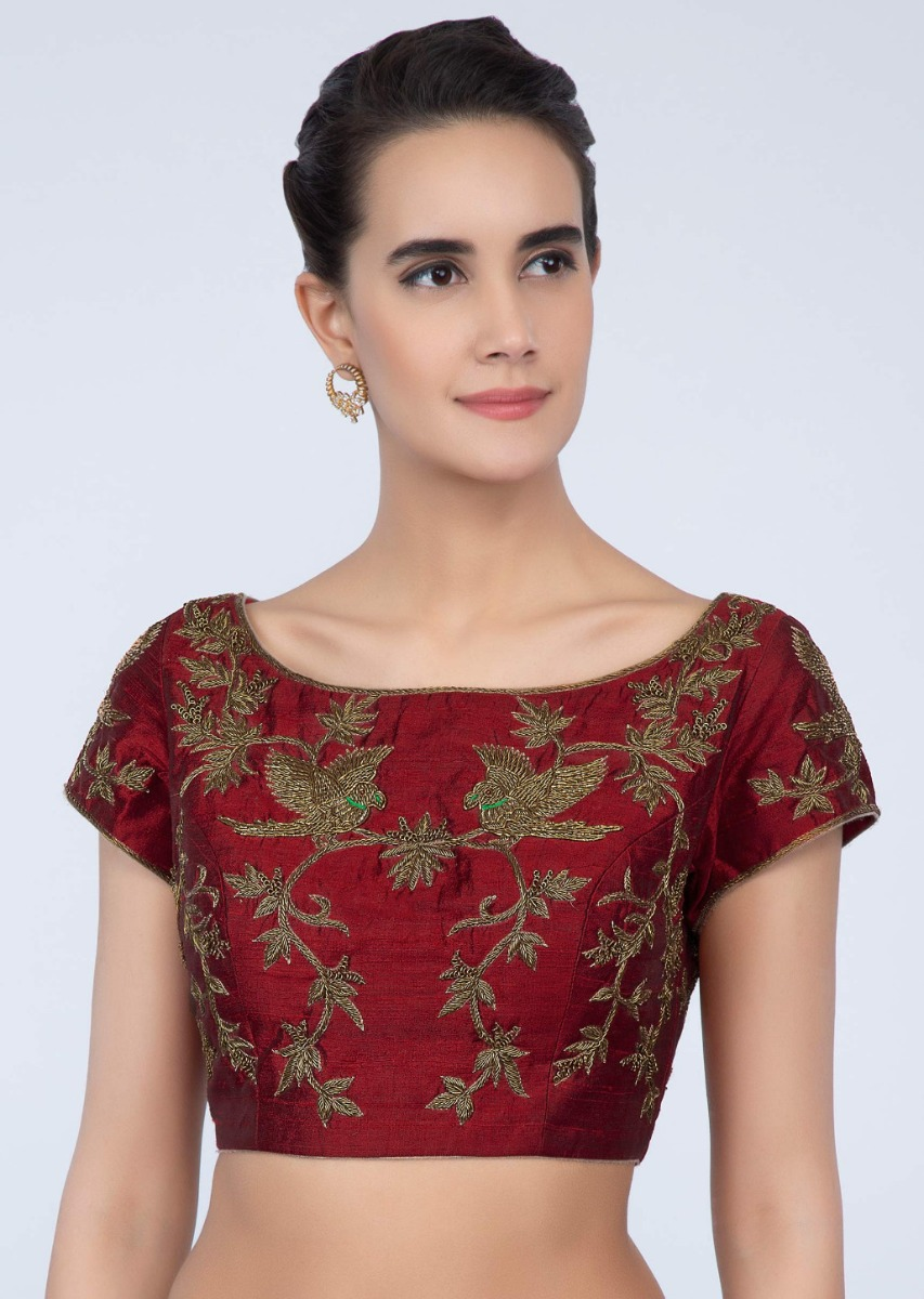 dbfb6a6d1da0ca Brick red raw silk blouse with zardosi embroidery in floral and bird motif  only on Kalki