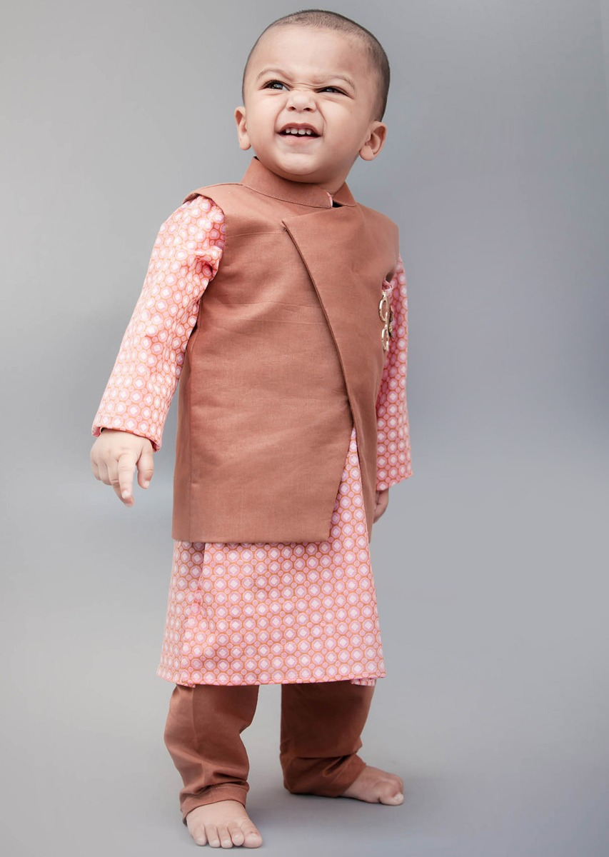 624356ff6 Brown Nehru Jacket with Printed Kurta and Churidar by Fayon Kids