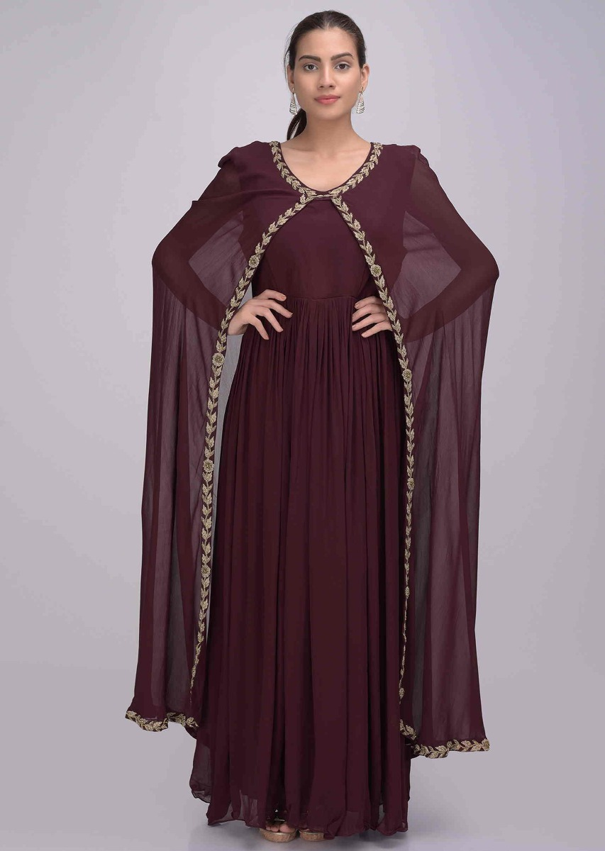 4ee2412f9 Burgundy chiffon suit with attached cape only on Kalki
