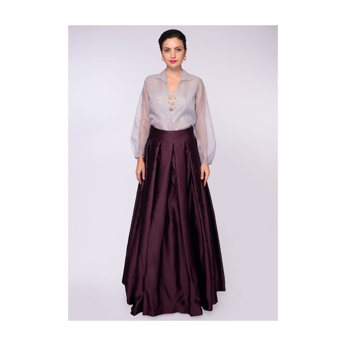 b4734d9a21d78 Burgundy satin crepe skirt paired with strapless satin crop top and grey  organza jacket only on KalkiMore Detail. Sold Out