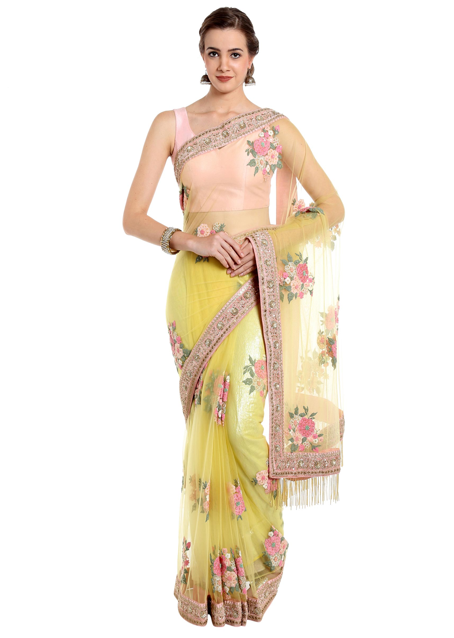 c6f329f437b52 Canary yellow saree in flower patch work embroidery only on KalkiMore Detail