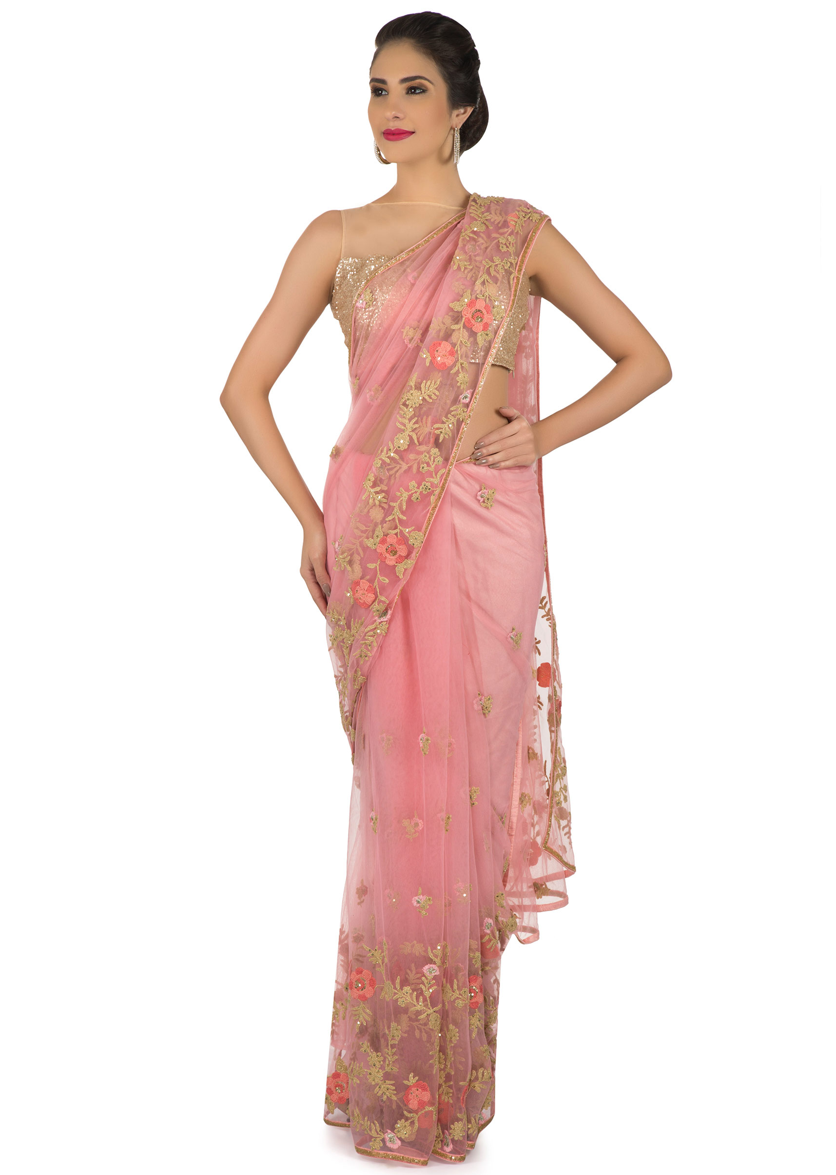 e8e258926391b Candy pink saree in net with resham floral jaal motif only on KalkiMore  Detail
