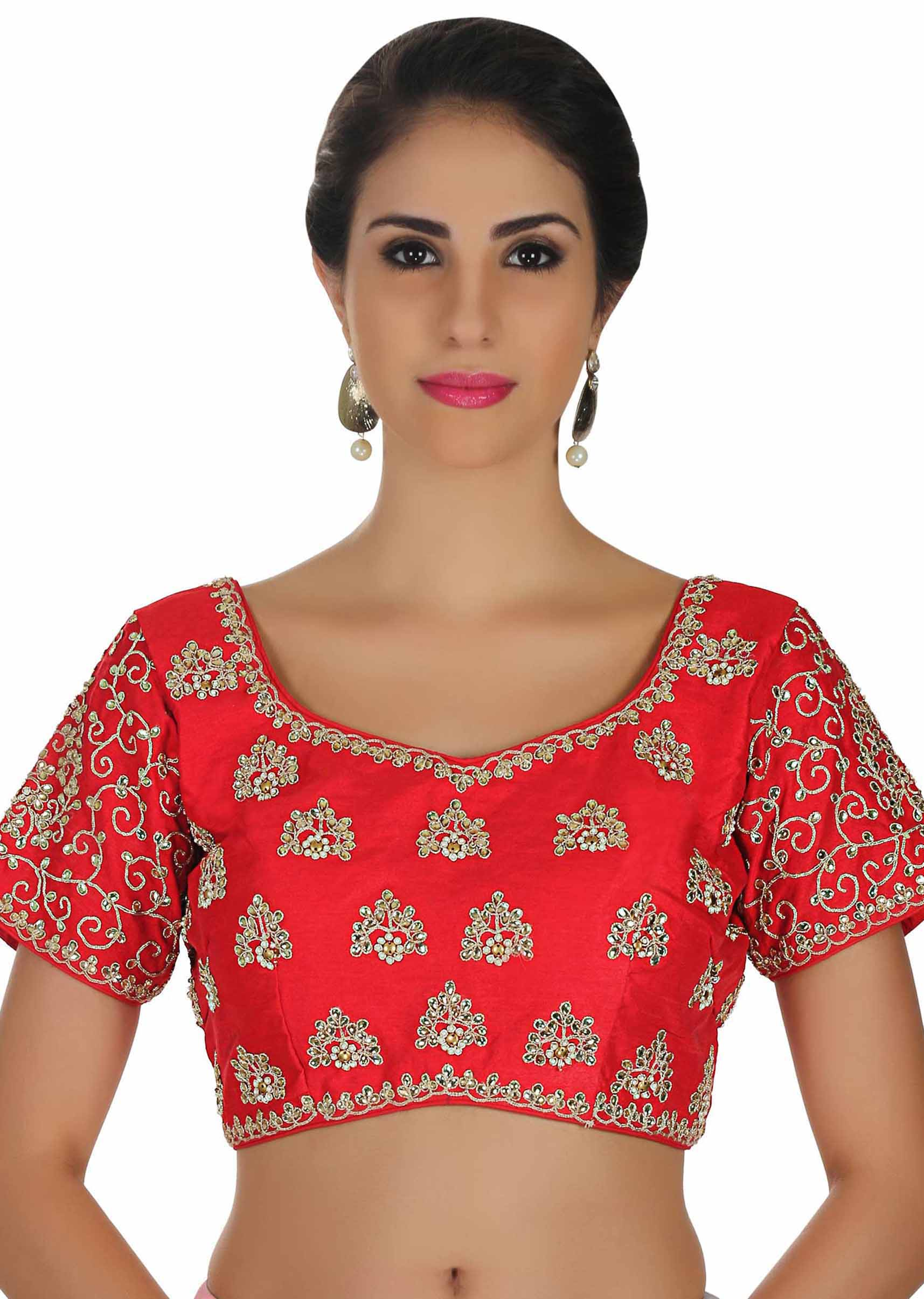 ec5d24c3ae2e37 Cherry red blouse with kundan and zari embroidered butti only on Kalki
