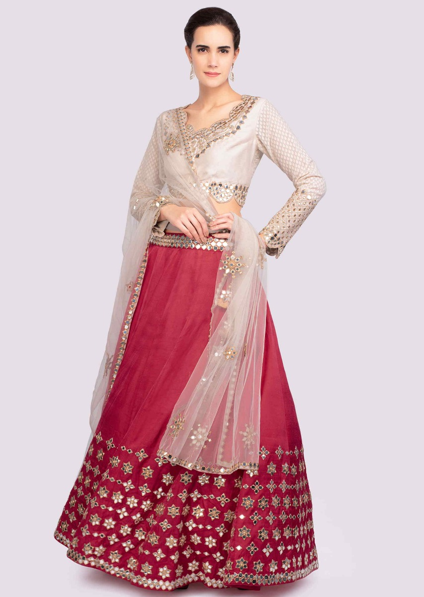 72ae7f589a038d Cherry red mirror embroidered lehenga with contrasting off white blouse only  on KalkiMore Detail