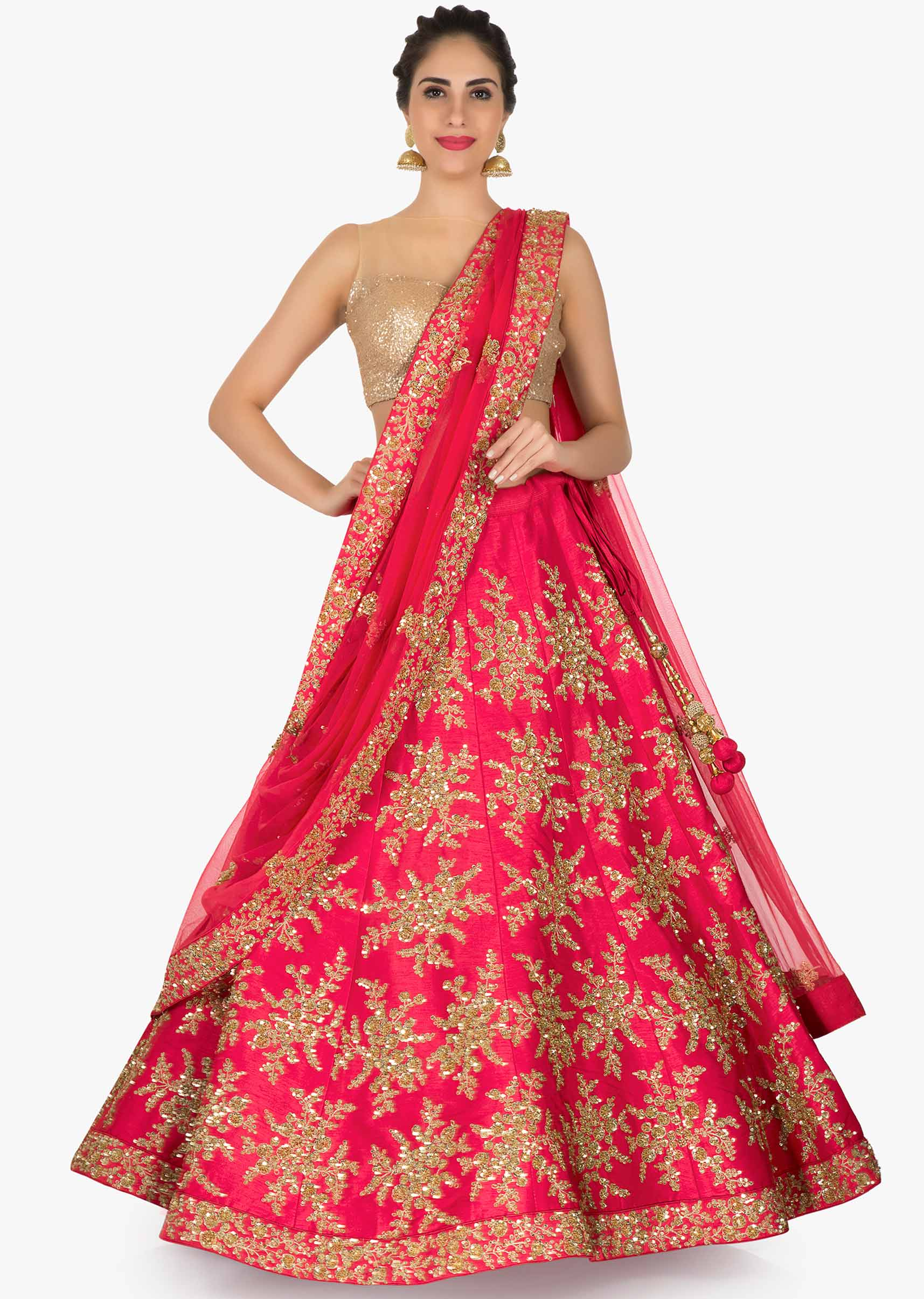67319800e49d8a Cherry red lehenga in raw silk embellished in zari and sequin only on KalkiMore  Detail