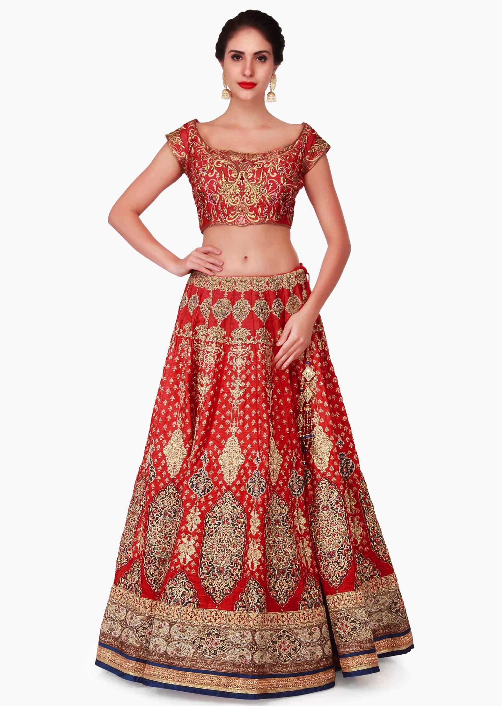 662809a8bcd9af Cherry red lehenga in raw silk embellished in zari embroidery work only on  Kalki