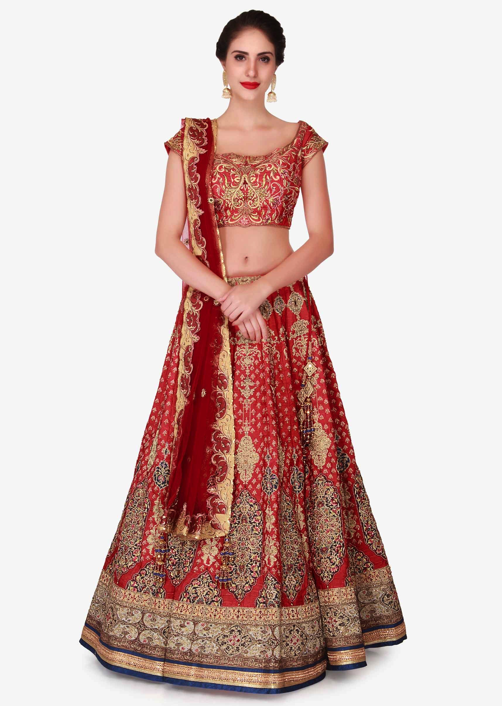 ba39364963196c Cherry red lehenga in raw silk embellished in zari embroidery work only on KalkiMore  Detail
