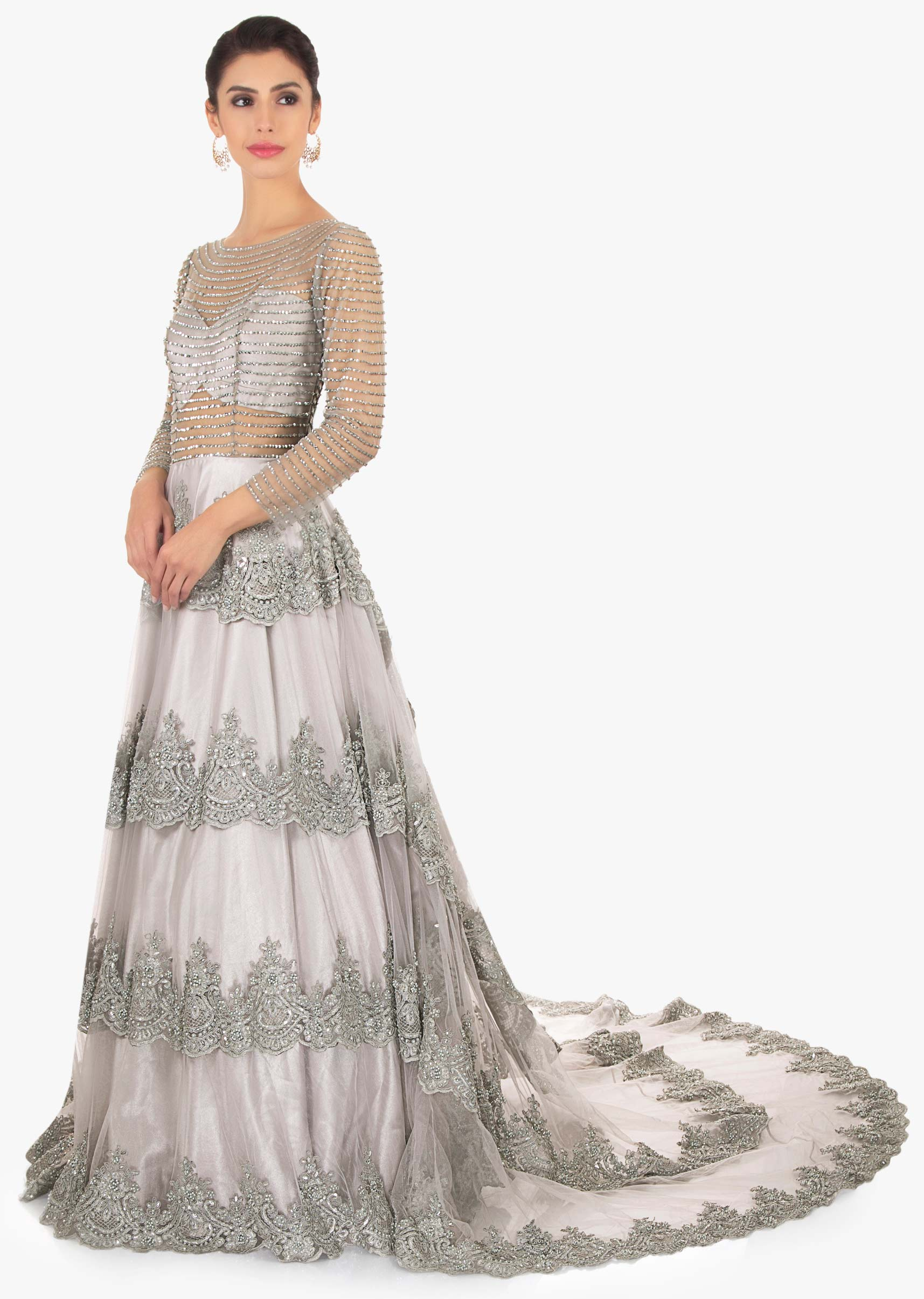 b67c7984 Cloud grey embroidered net gown only on Kalki