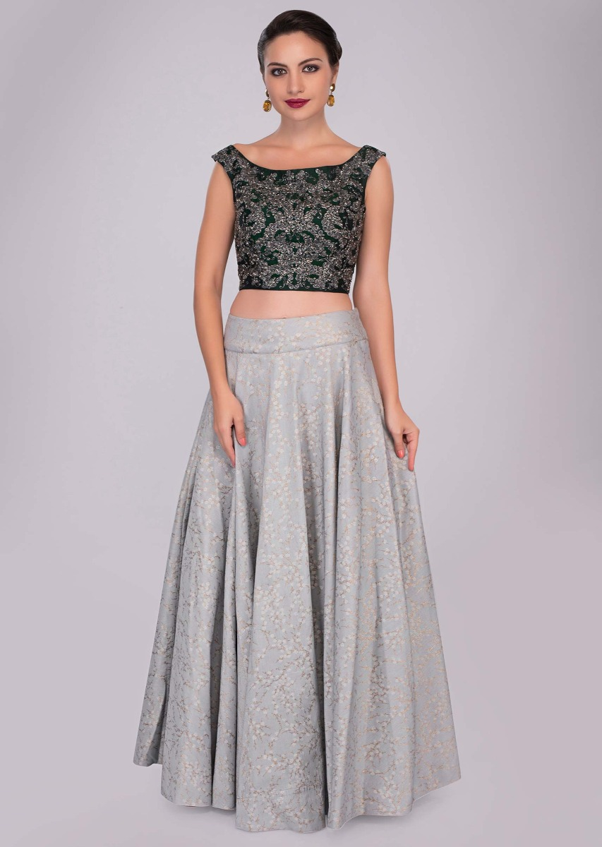 f90aea4d142210 Cloud grey silk skirt paired with rama green embroidered blouse and fancy  pre stitched dupatta only ...