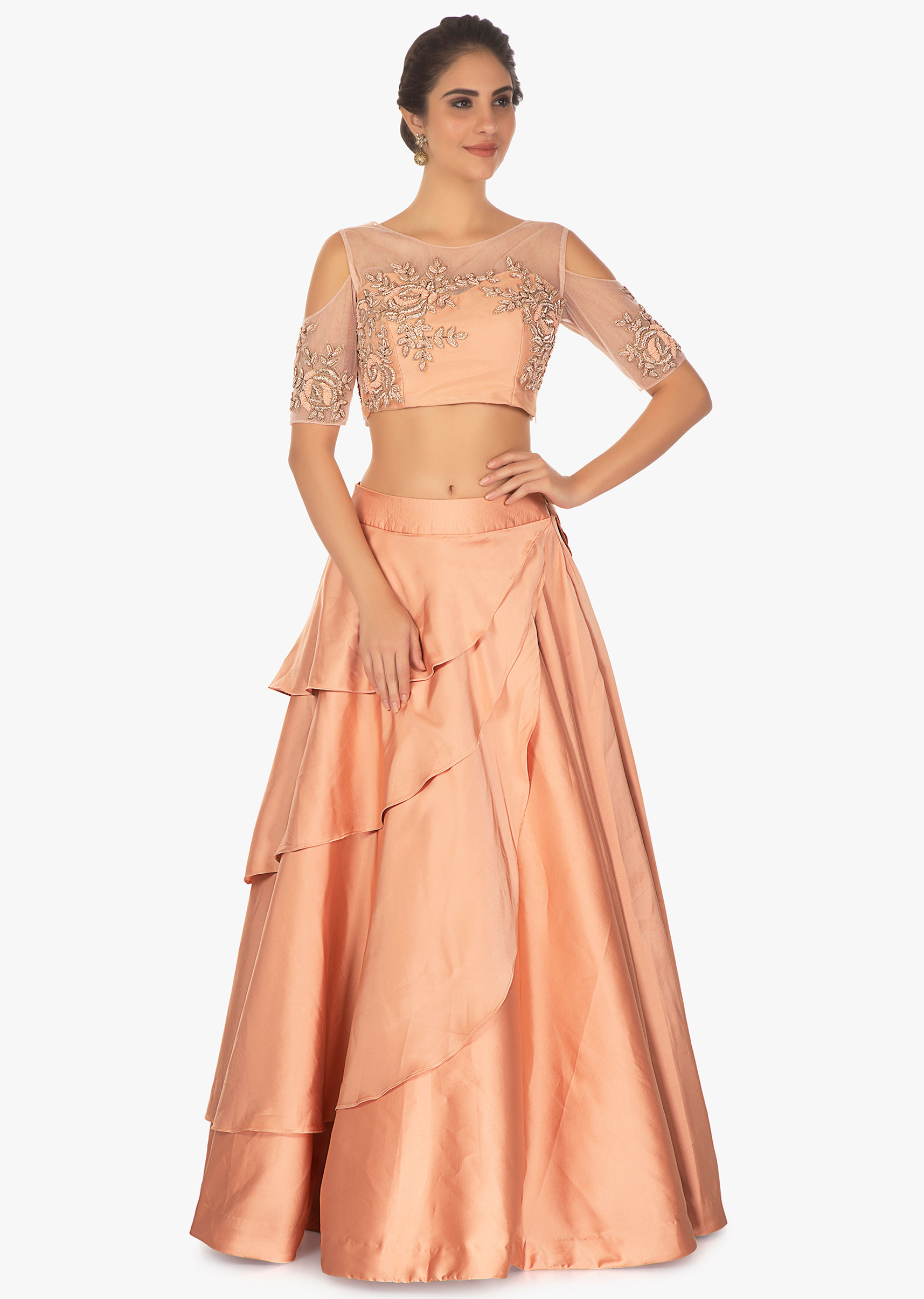 6cbafec63dafc Cold shoulder peach crop top with layered satin skirt only on Kalki