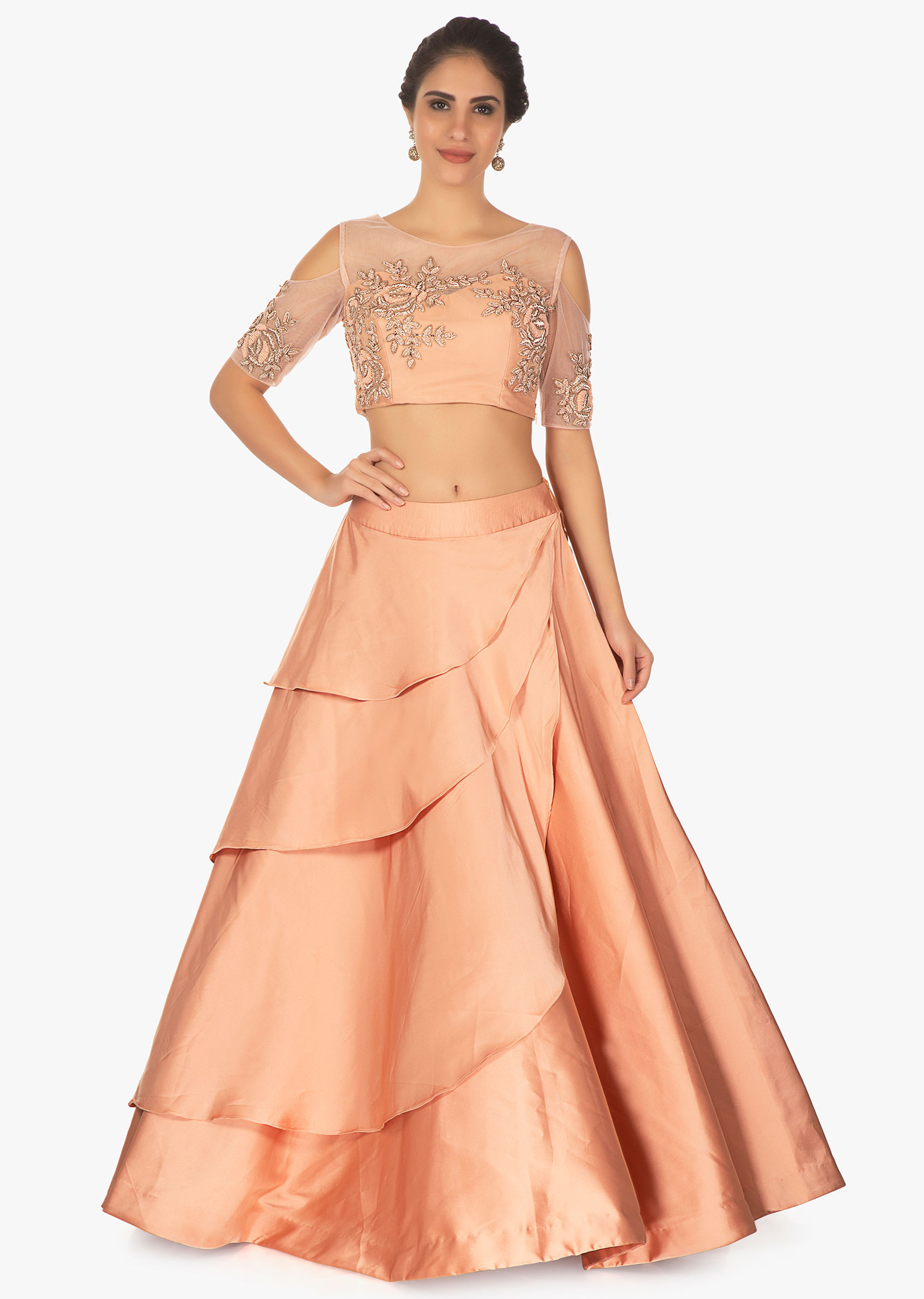 4d577907d29ba Cold shoulder peach crop top with layered satin skirt only on KalkiMore  Detail
