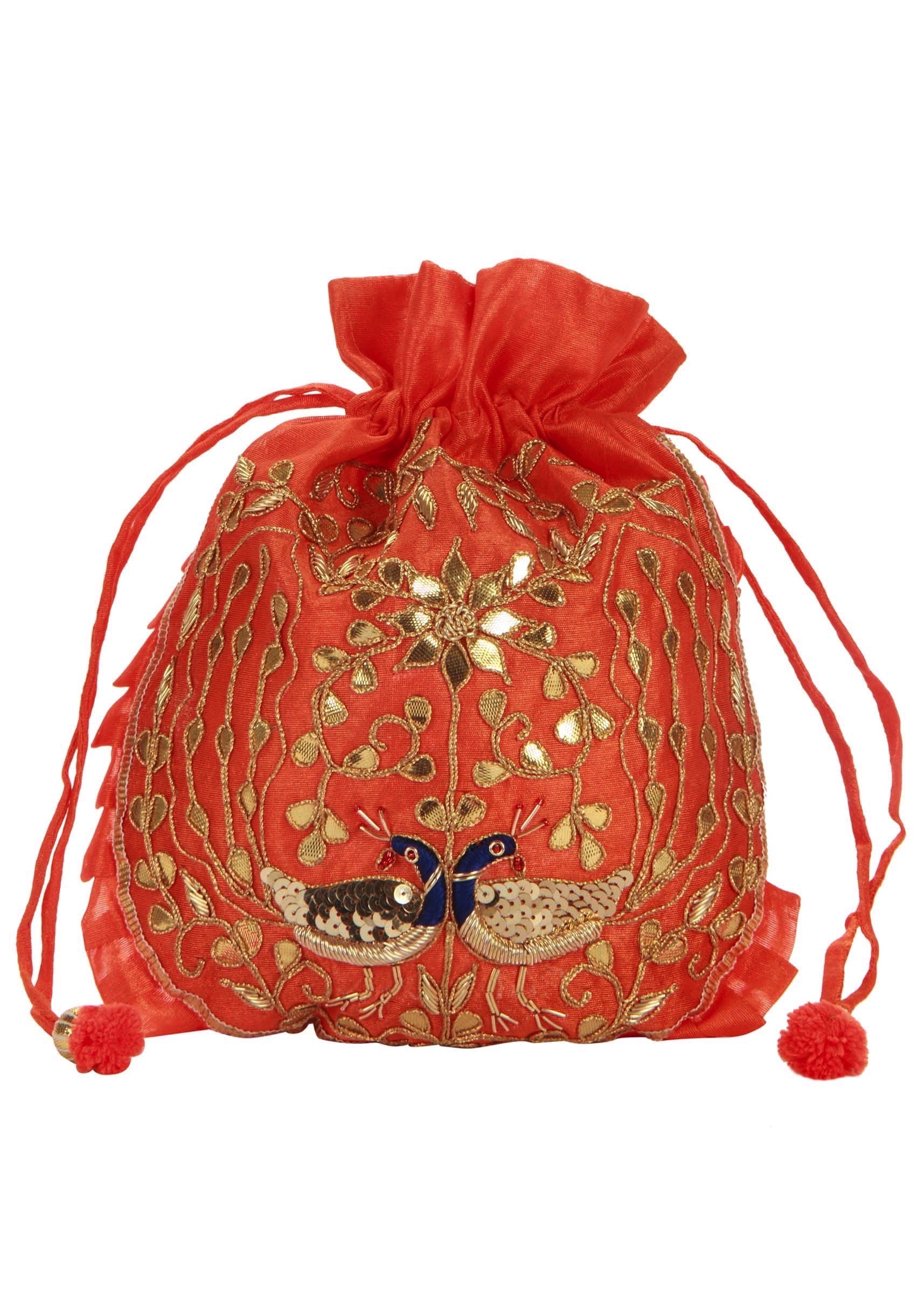 ce59c898692 Coral and Gold Dori peacock Embroidered Potli Bag only on Kalki