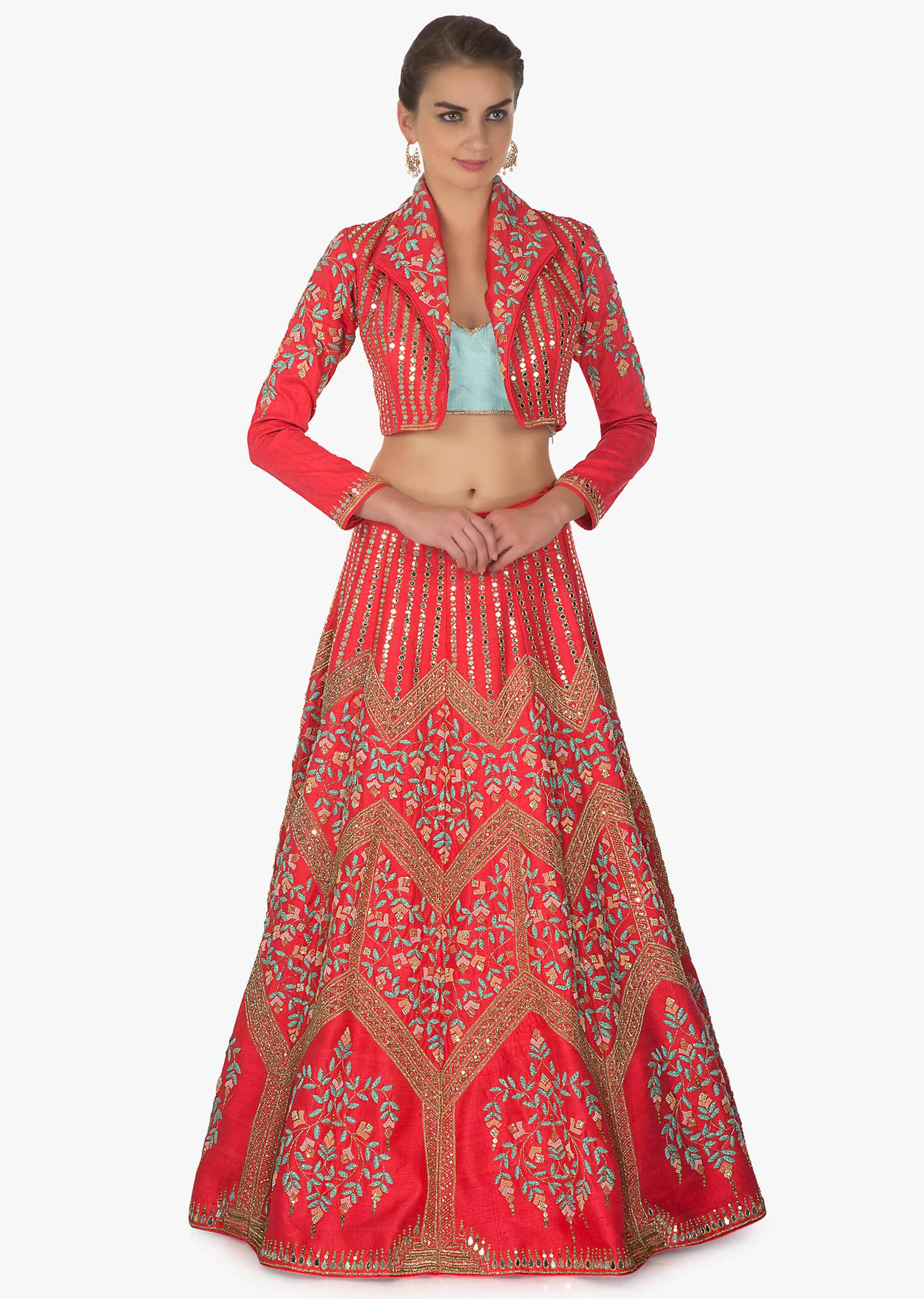 113effc83f506e Coral lehenga paired with mint green strapless blouse and coral jacket only  on Kalki