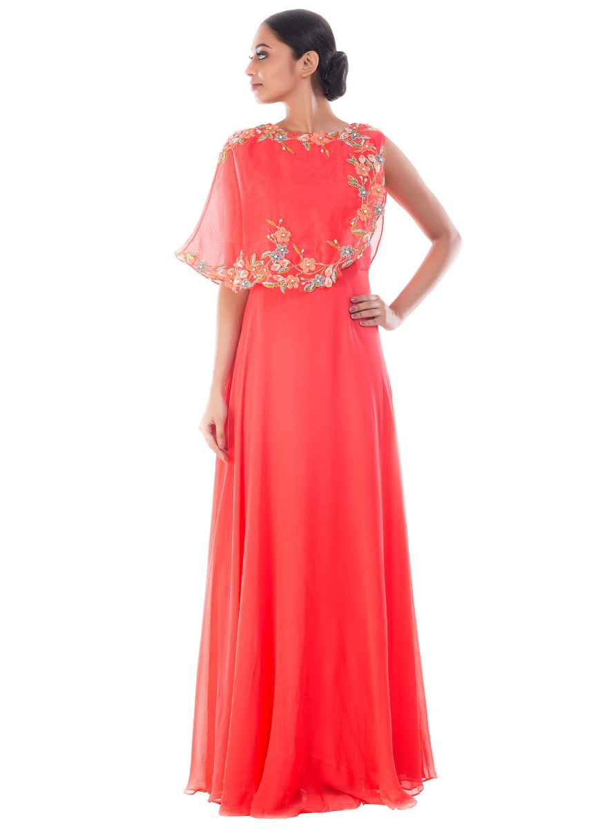 4f7392a790a3c Coral Peach Cape Gown