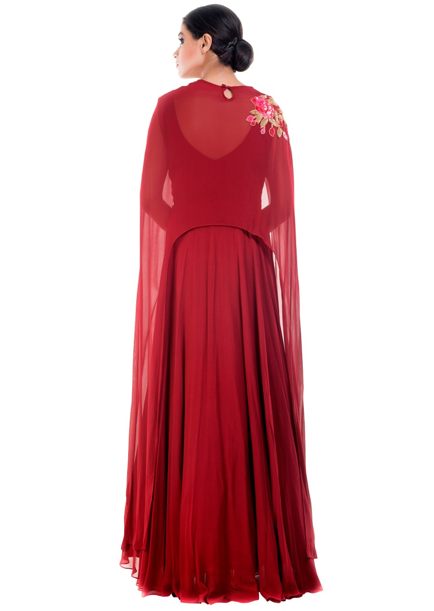 f85e86d38db99 Coral Wine Cape GownMore Detail