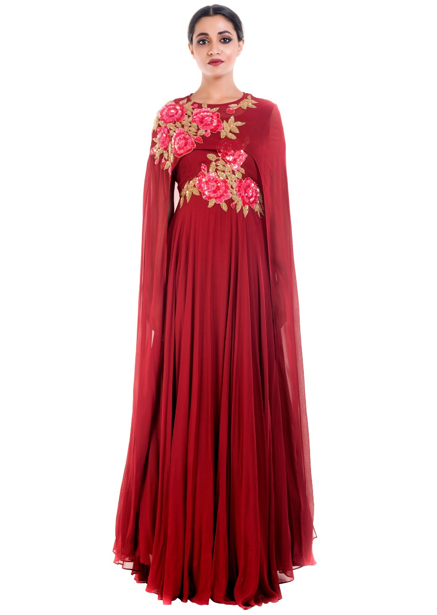c9526084055ed Coral Wine Cape Gown