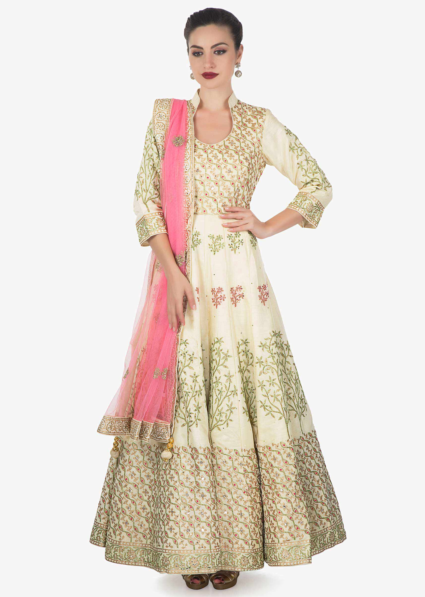efacfa89da Cream cotton silk anarkali suit paired with pink net dupatta and lycra  chudidar only on kalkiMore Detail