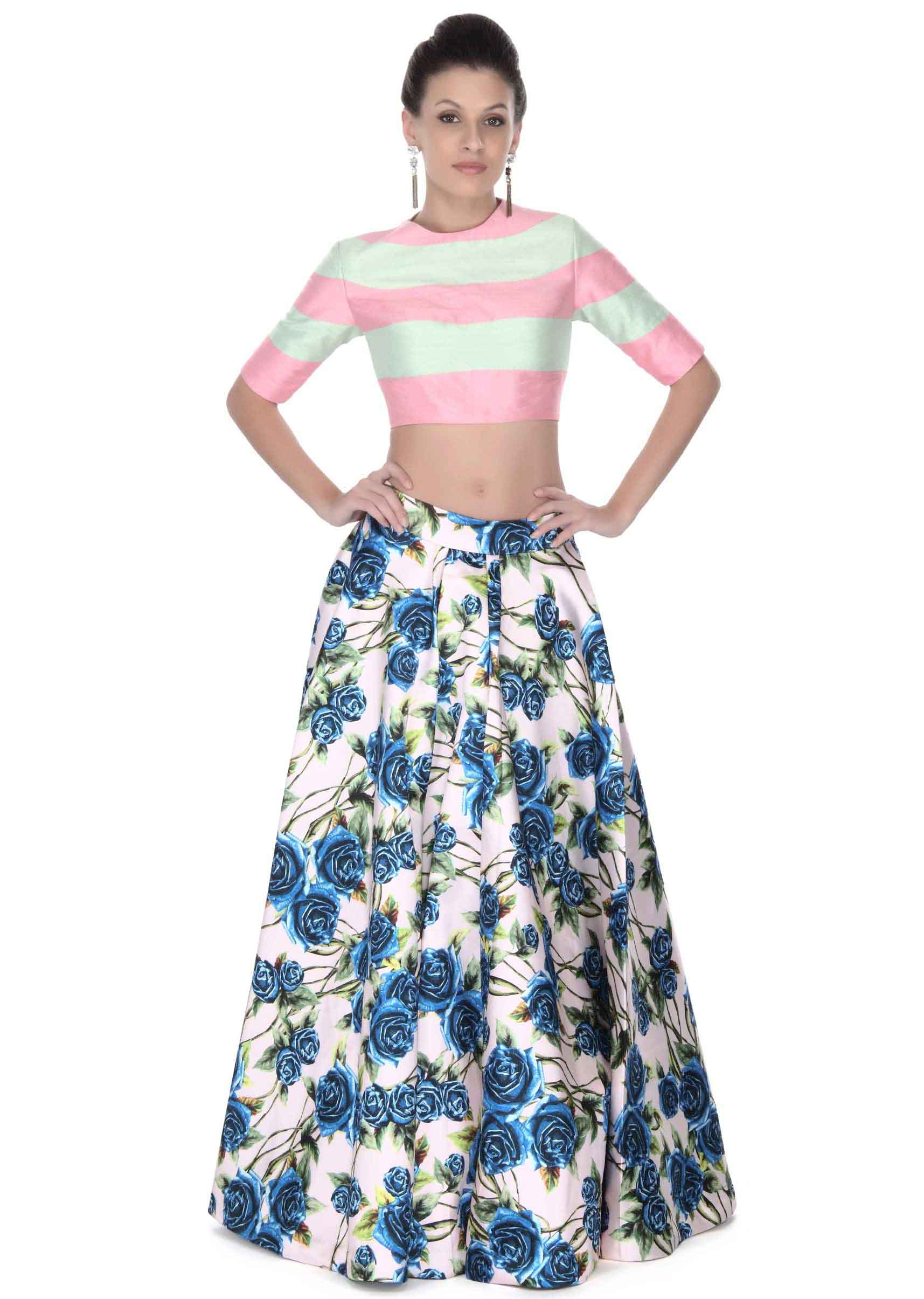 8cf4b94caef1b9 Cream floral print skirt with pink and mint crop top only on KalkiMore  Detail