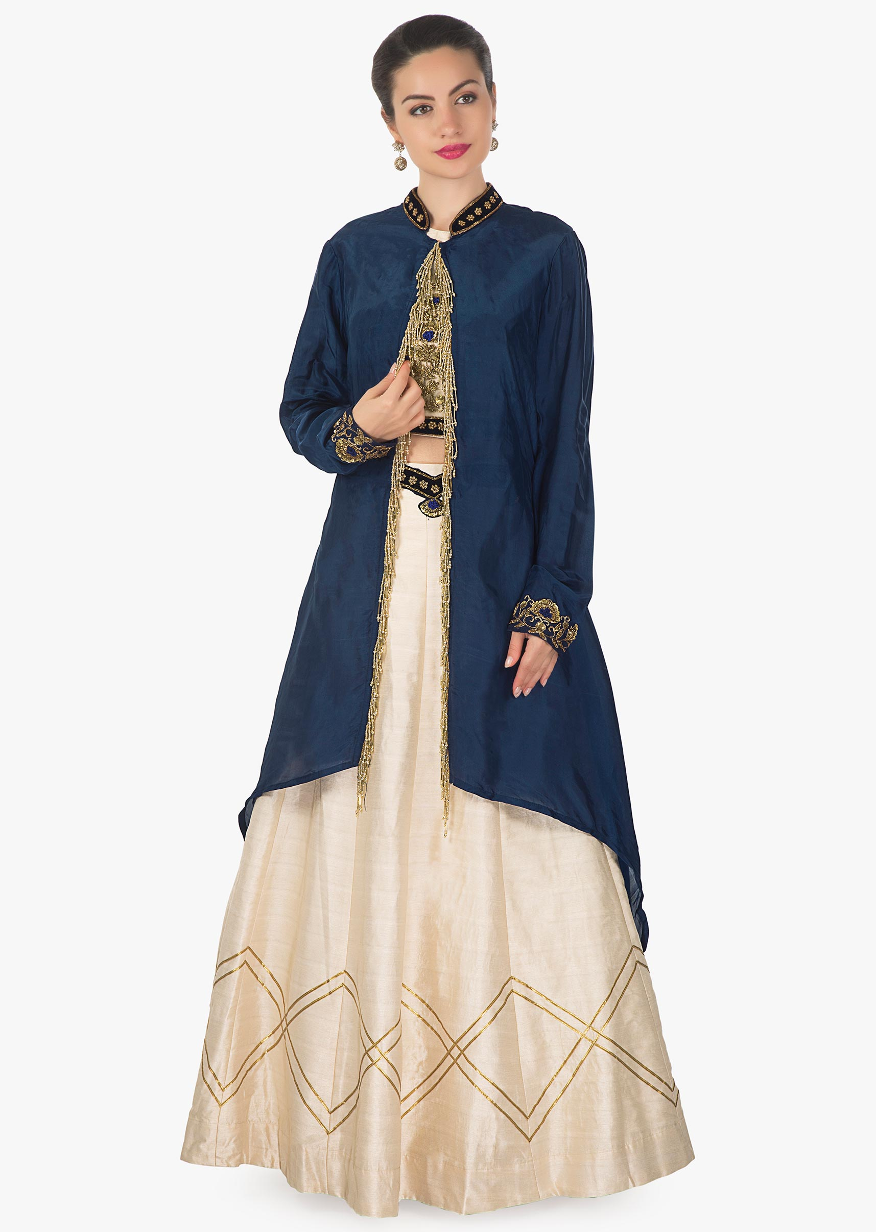a56f99a1bec7bf Cream lehenga and blouse in raw silk with navy blue jacket adorn in tassel  only on KalkiMore Detail