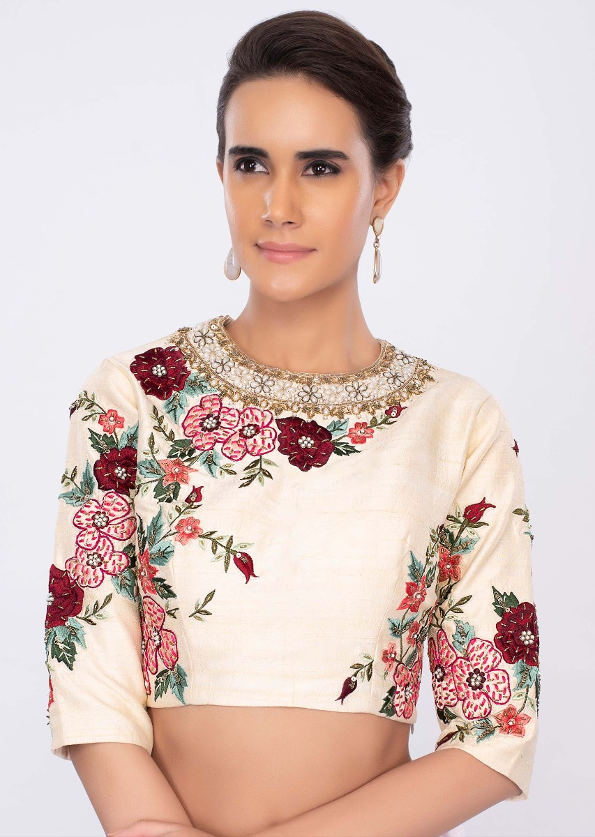 f055d902b09e43 Cream raw silk blouse in multi color floral embroidery only on kalki