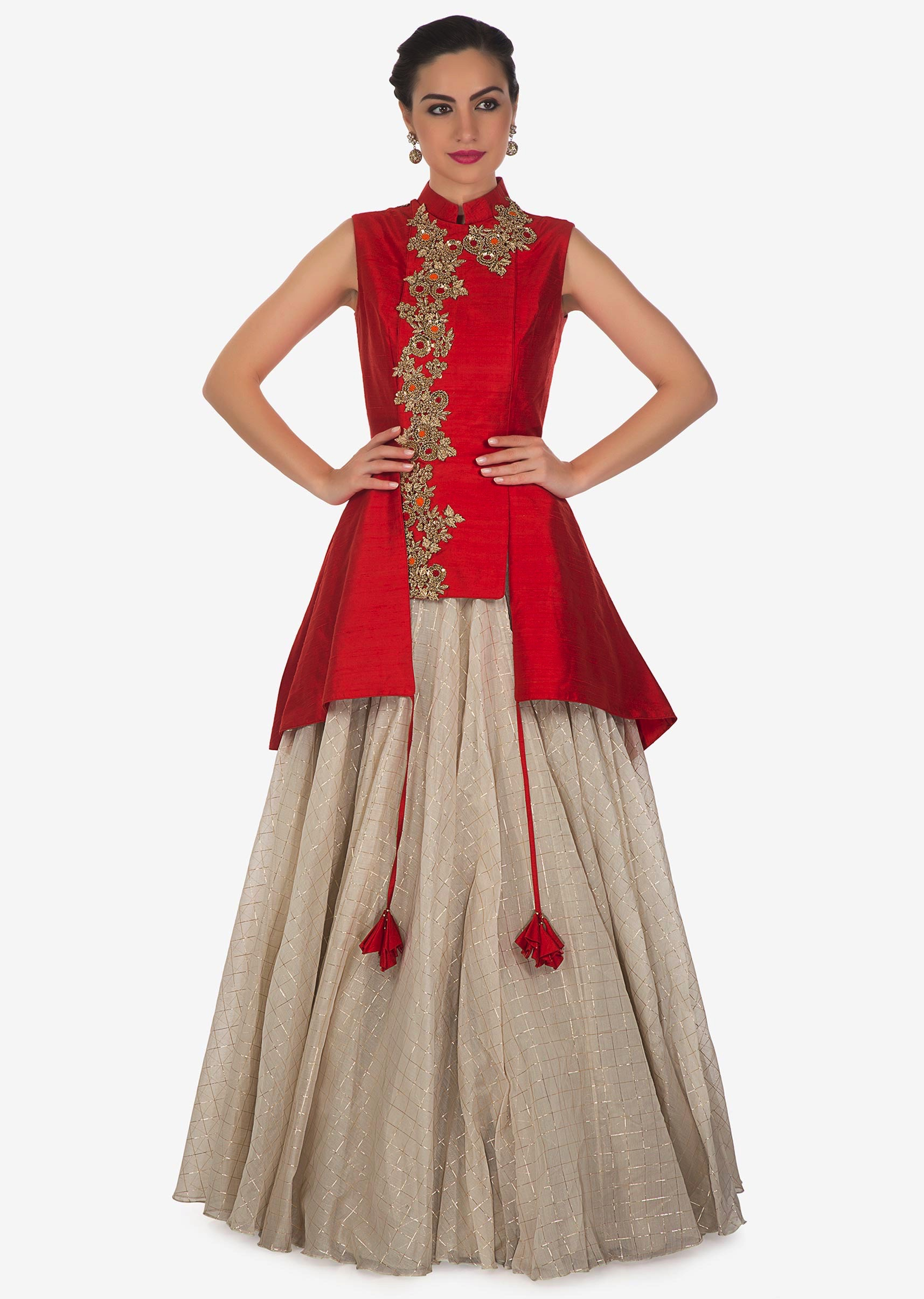82fef0cdd4a9ee Cream lehenga matched with red jacket blouse adorn in french knot  embroidery only on KalkiMore Detail