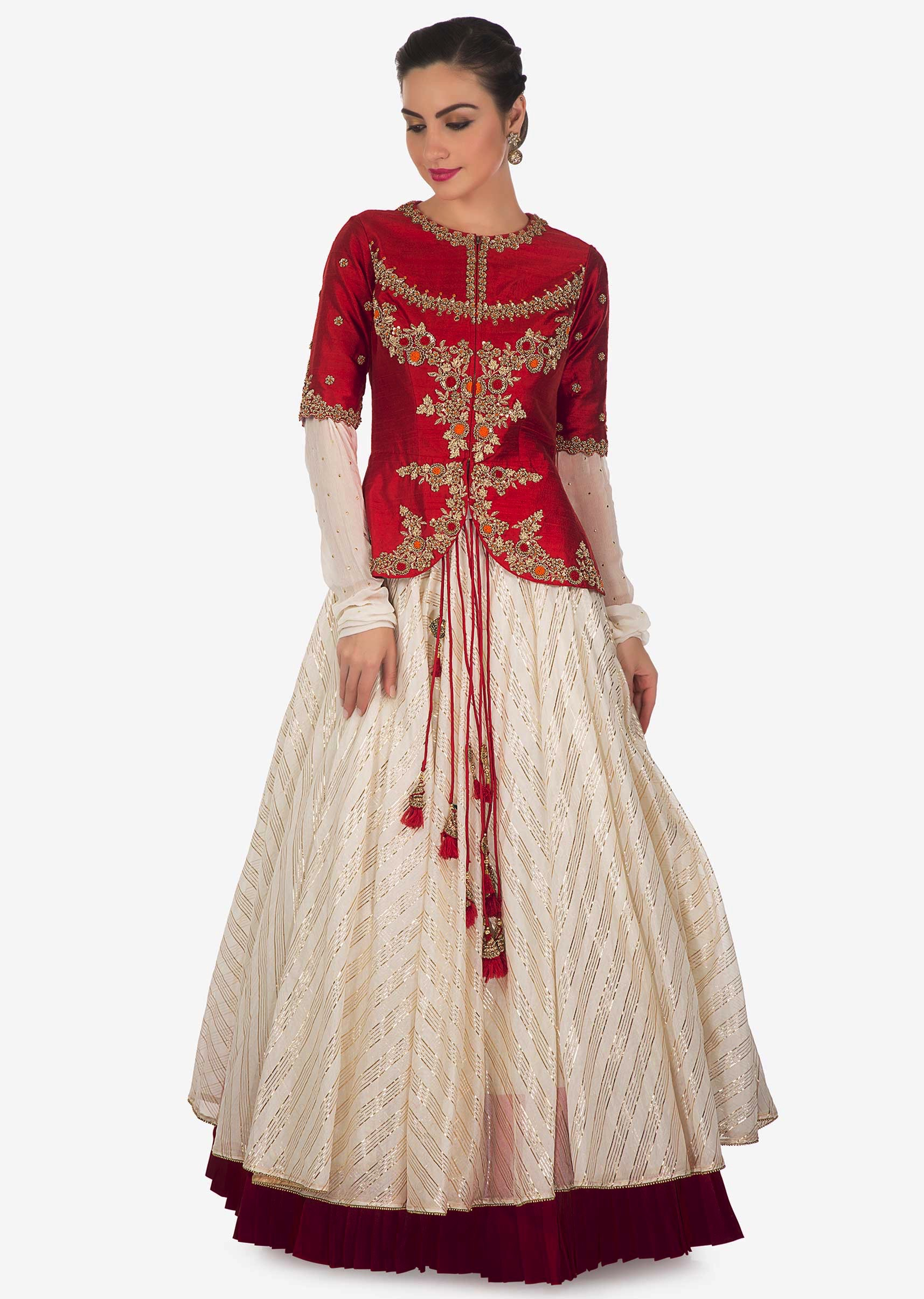 85c6adfd096d1d Cream lehenga matched with red raw silk embroidered jacket blouse only on KalkiMore  Detail