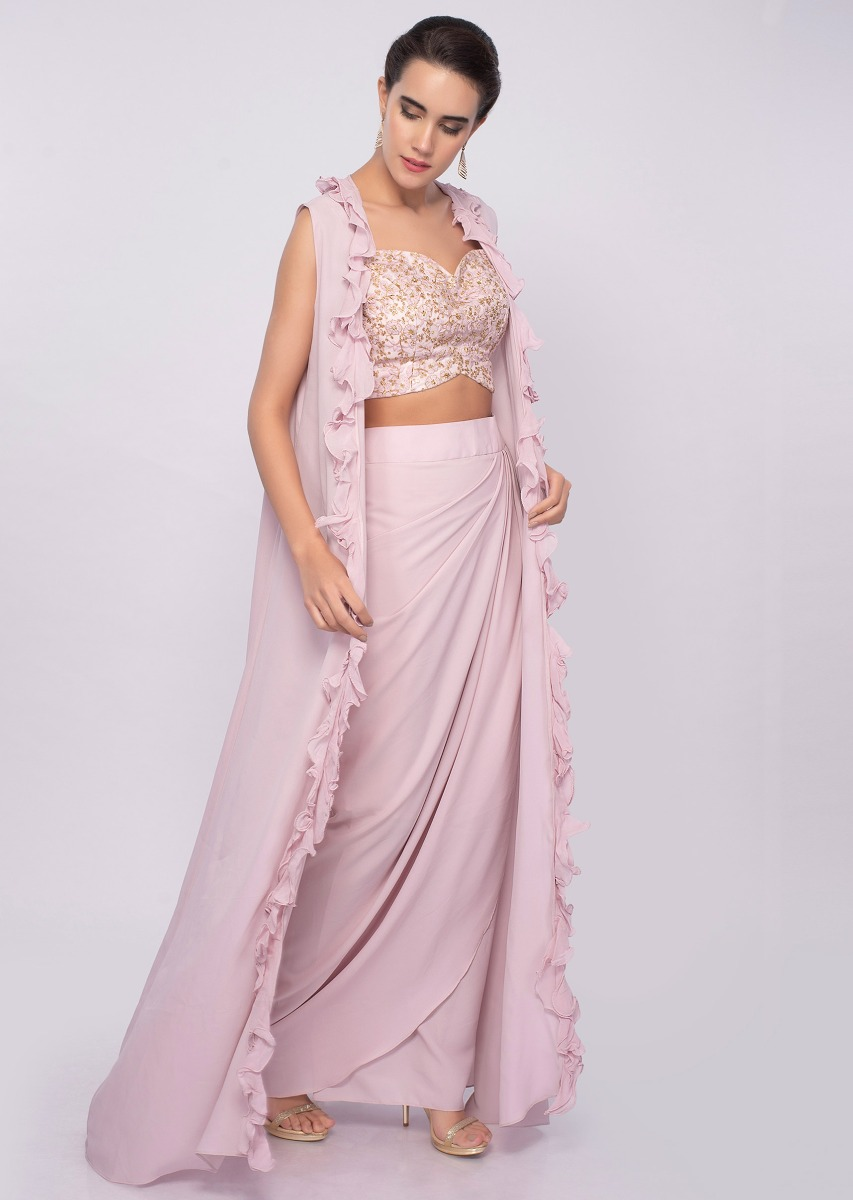 60a2af09afb752 Crepe pink dhoti skirt and crop top with long only on Kalki
