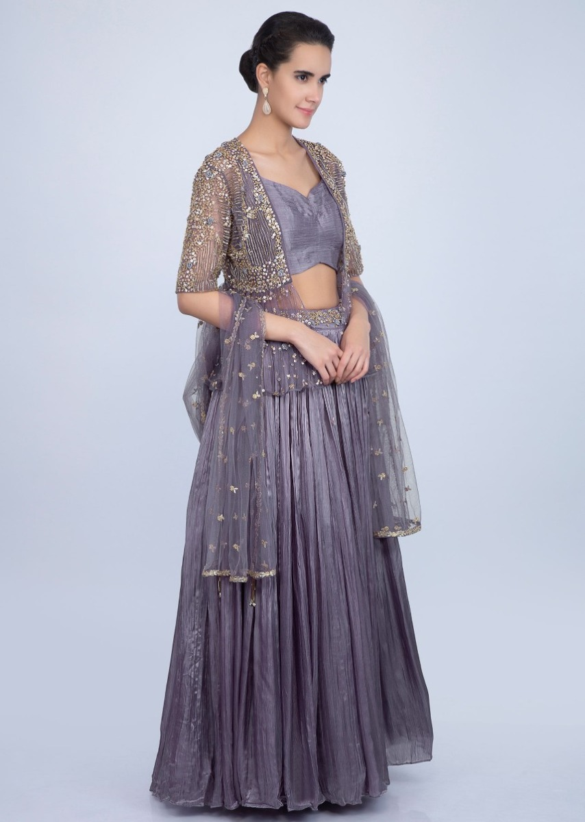 59e09427102 Crushed satin lavender lehenga set with embroidered net dupatta and jacket  only on Kalki