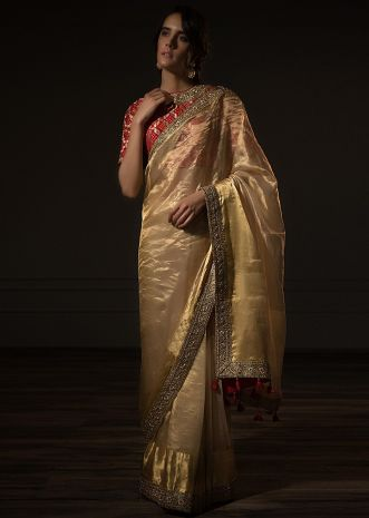 Golden sheer silk saree with embroidered border only on Kalki