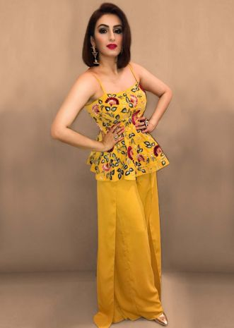 Mustard georgette palazzo with embroidered peplum